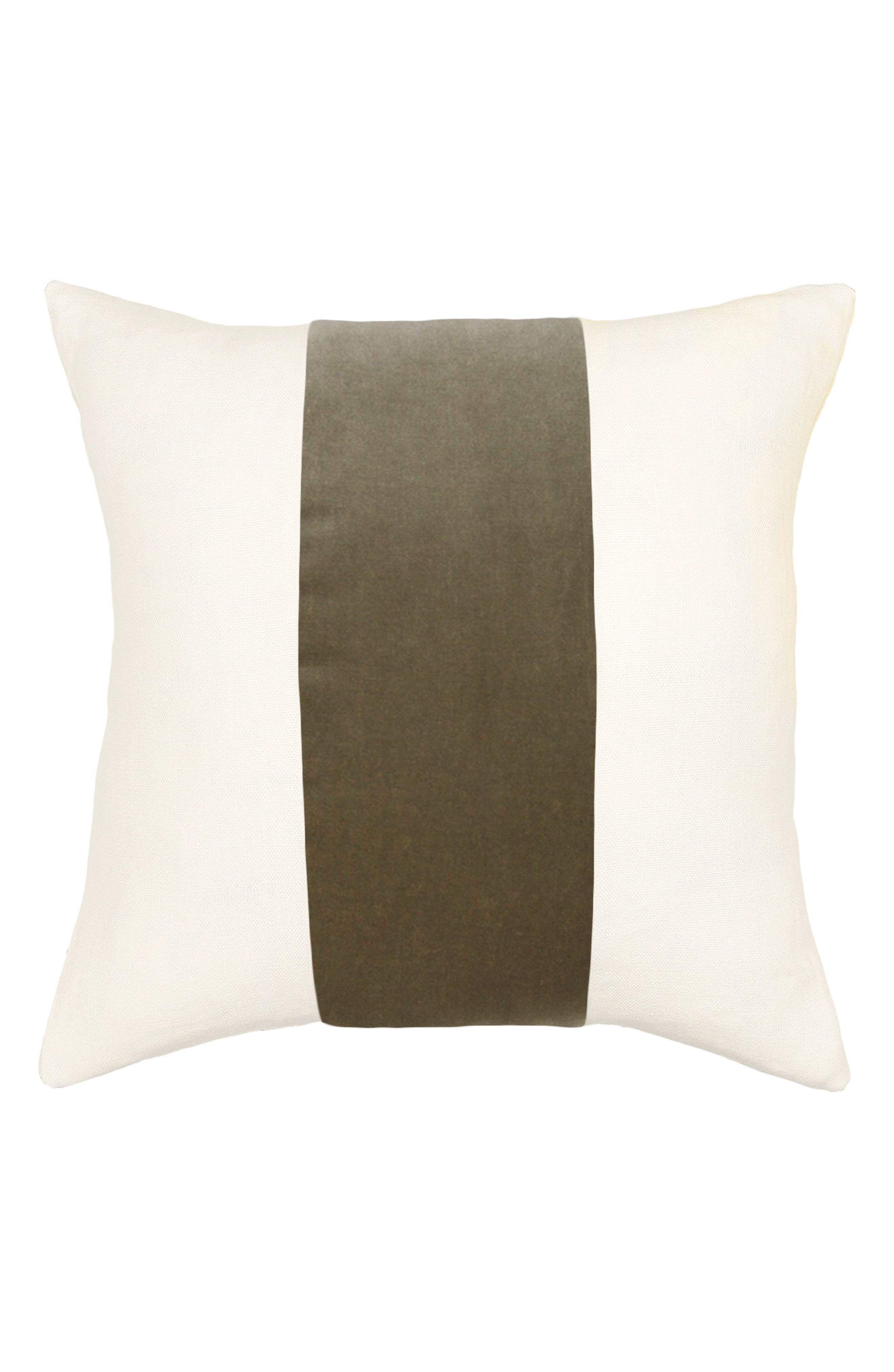 Square Feathers Ming Birch Velvet Band Pillow
