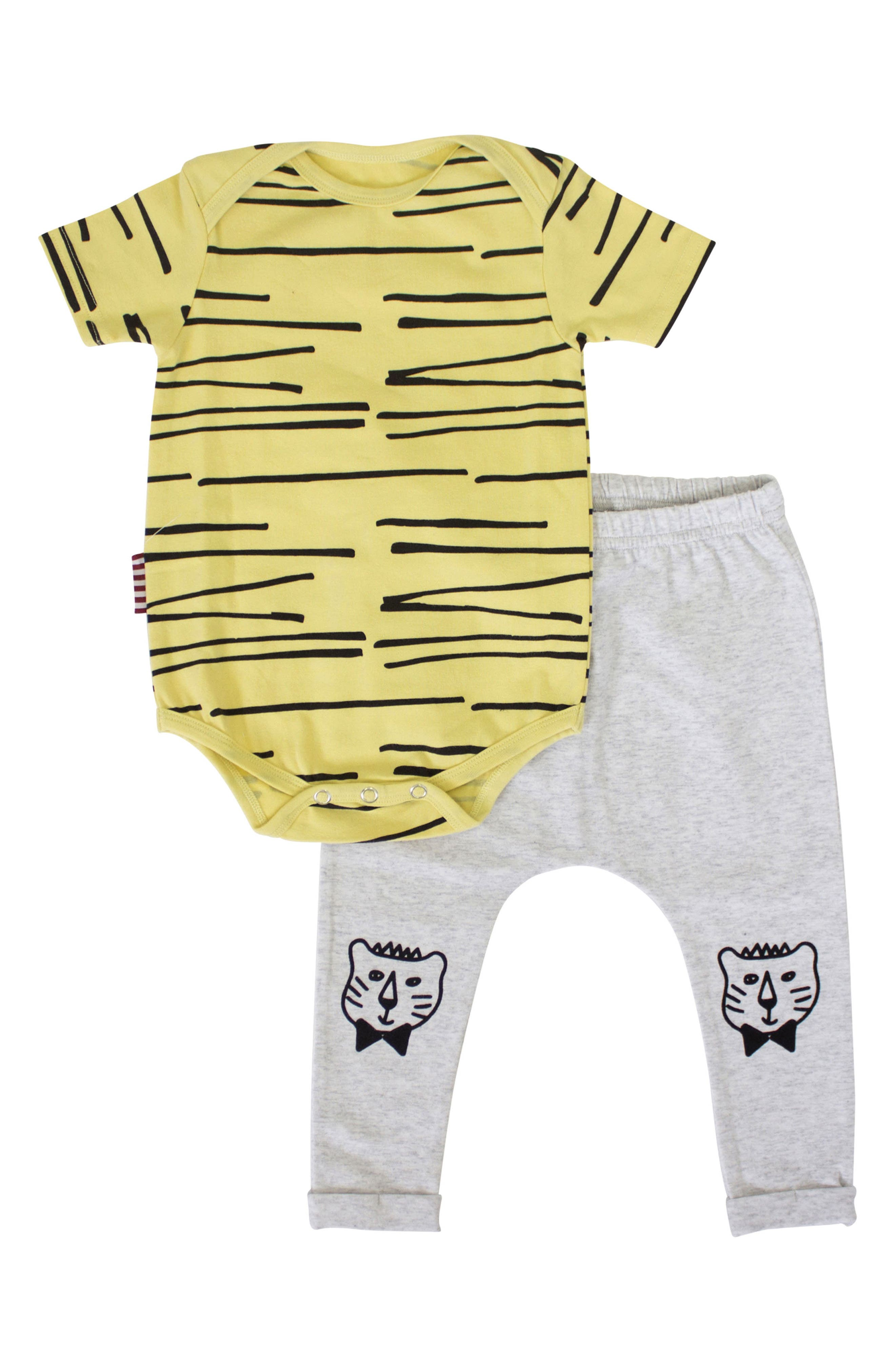 Cool Cat Bodysuit & Leggings Set,                             Main thumbnail 1, color,                             Yelllow/ Grey