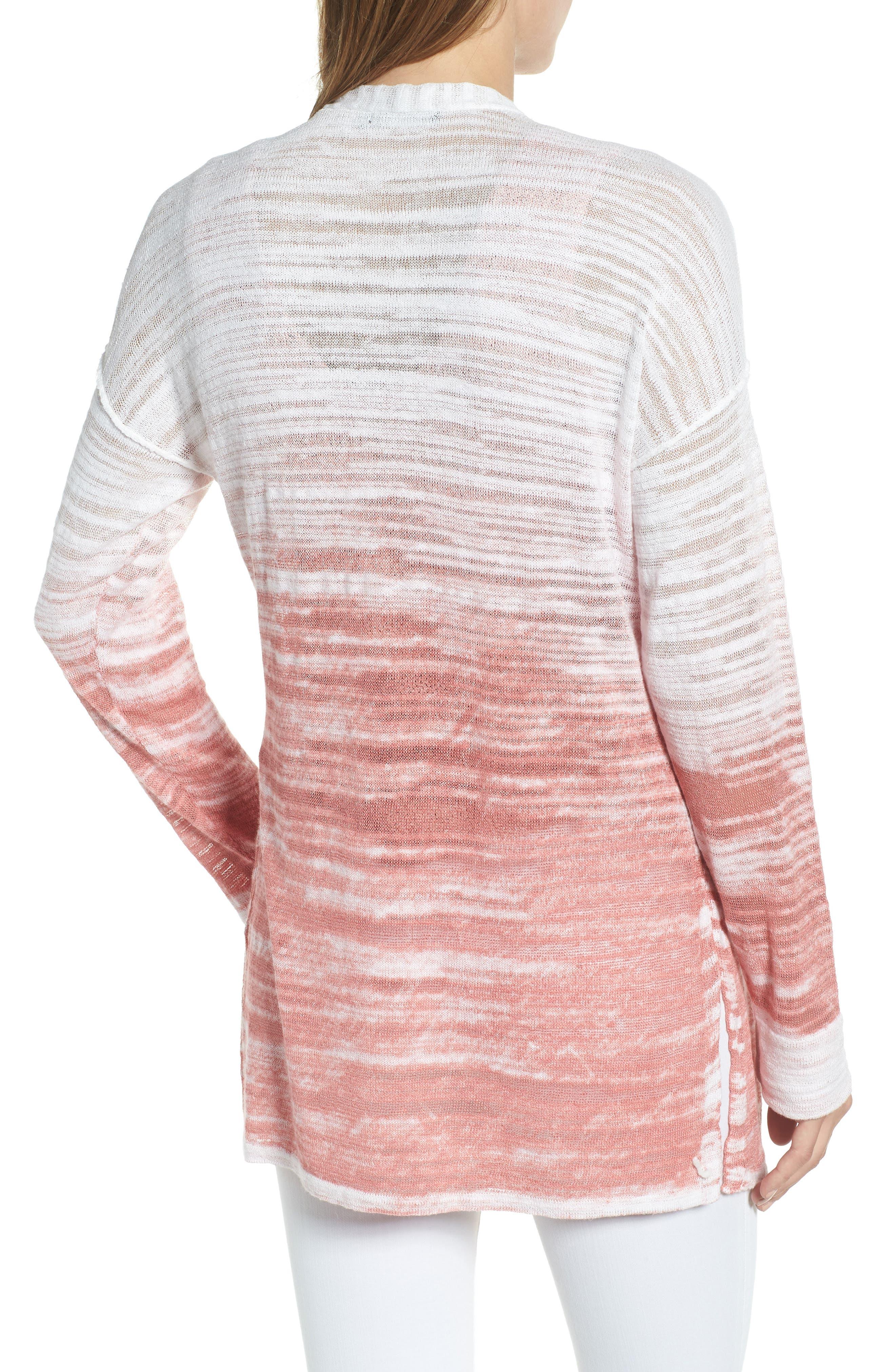 Open Breeze Linen Cotton Ombré Cardigan,                             Alternate thumbnail 2, color,                             Pink Clay