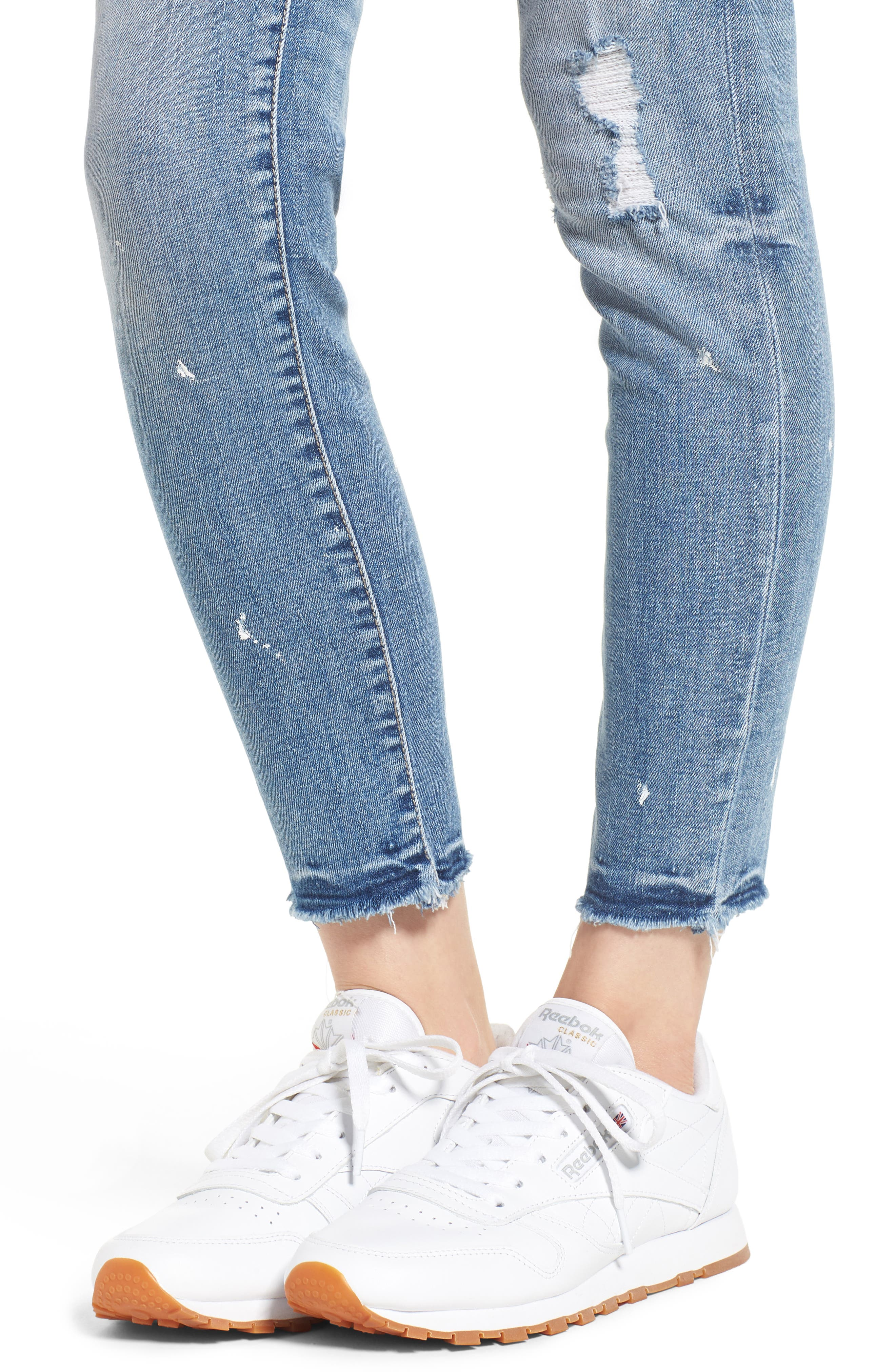 Ripped Skinny Jeans,                             Alternate thumbnail 4, color,                             Light Wash