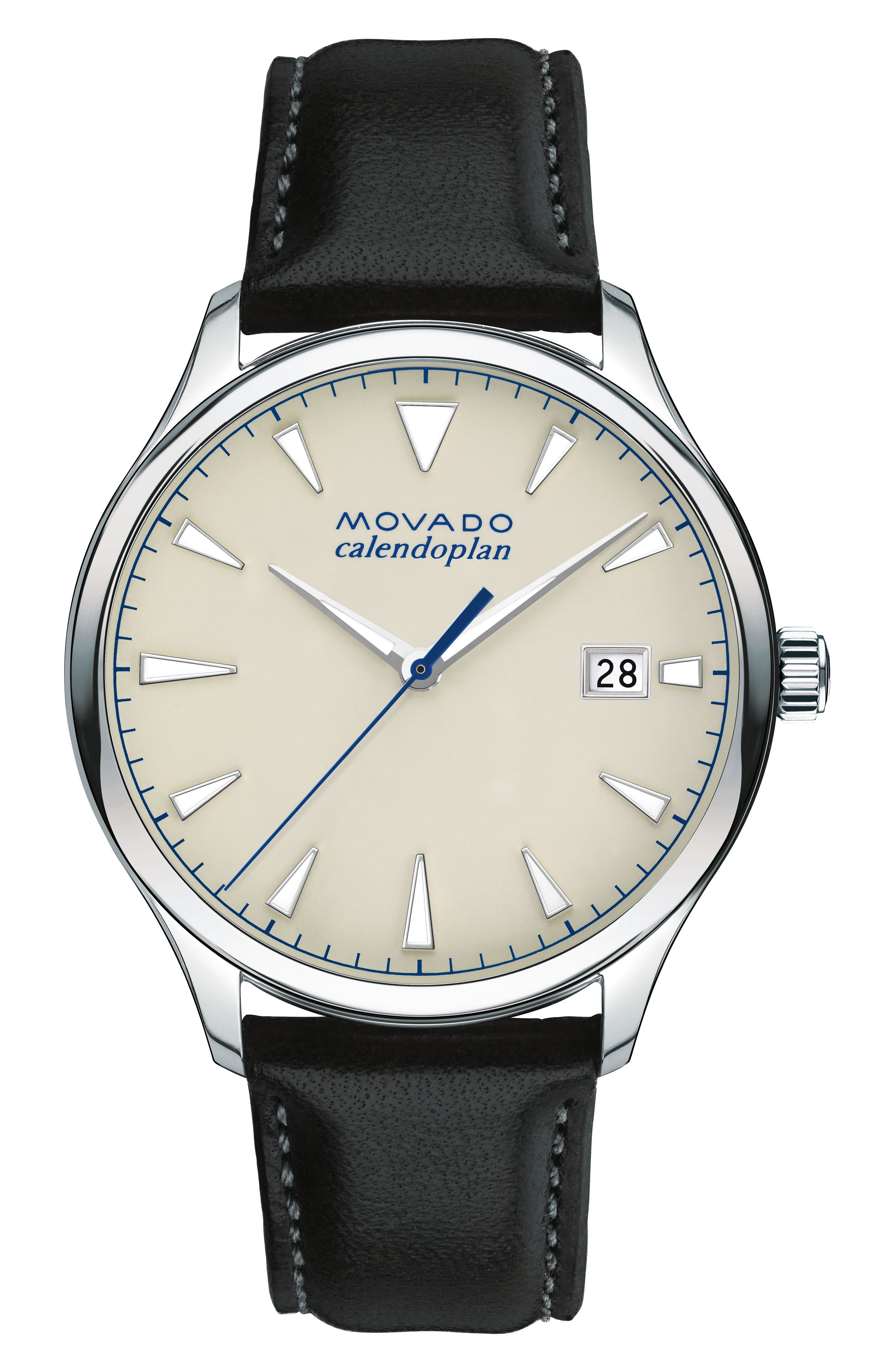 Movado Heritage Calendoplan Leather Strap Watch, 40mm