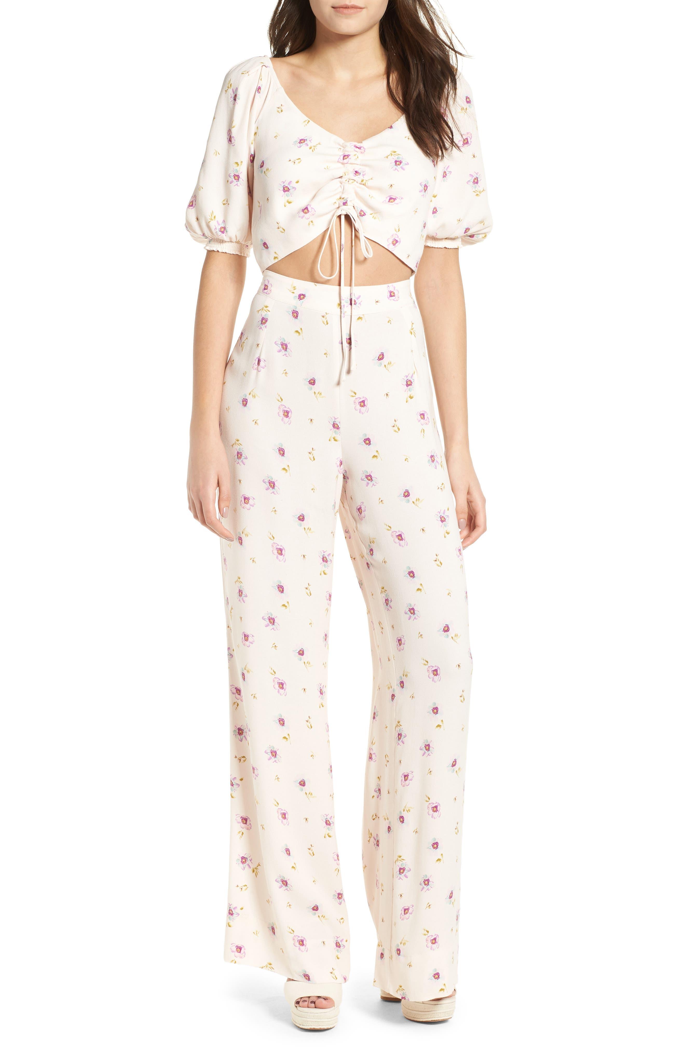 Carter High Waist Wide Leg Pants,                             Alternate thumbnail 2, color,                             Lilac Floral