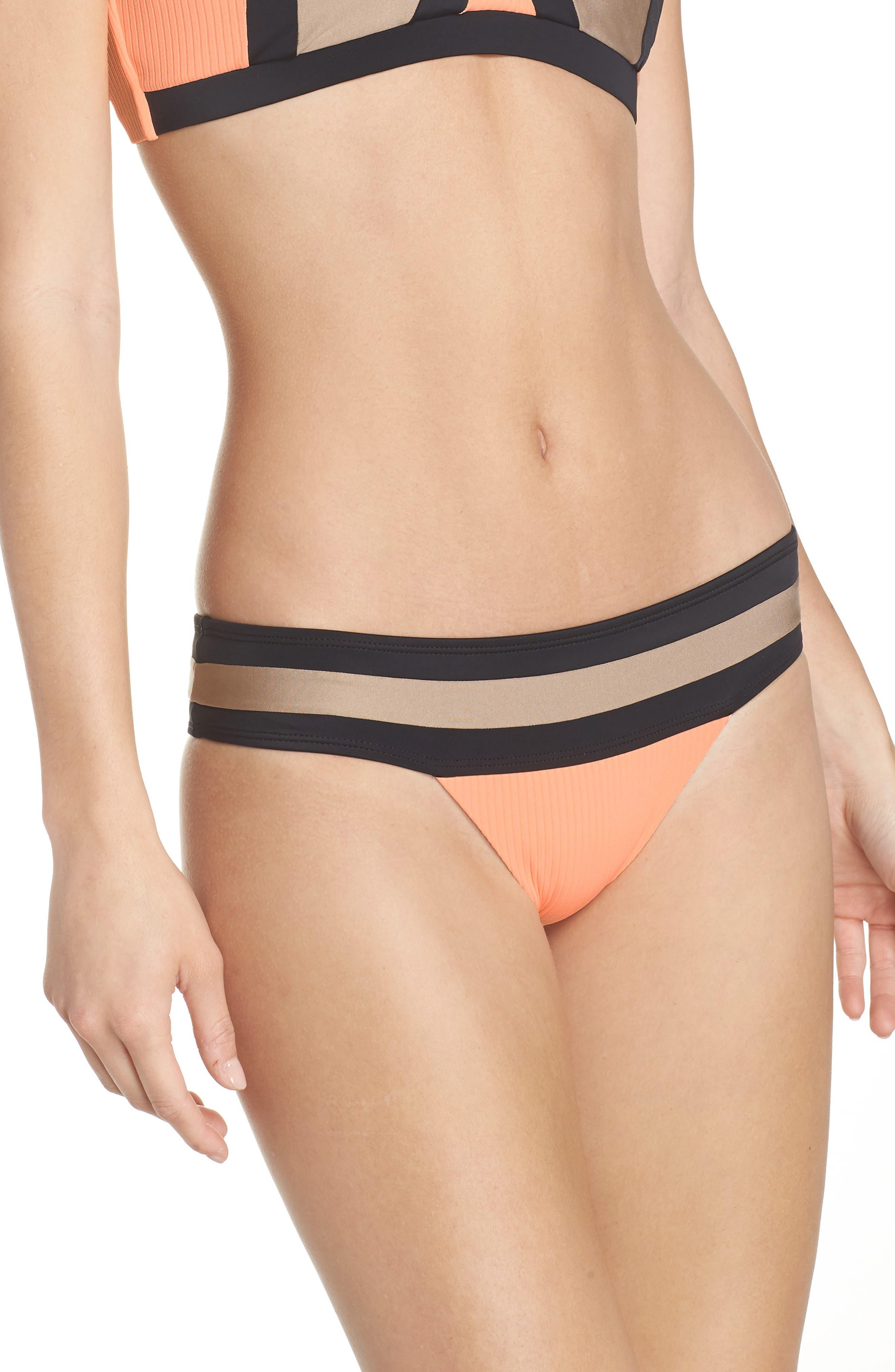 Banded Bikini Bottoms,                         Main,                         color, Sandstone