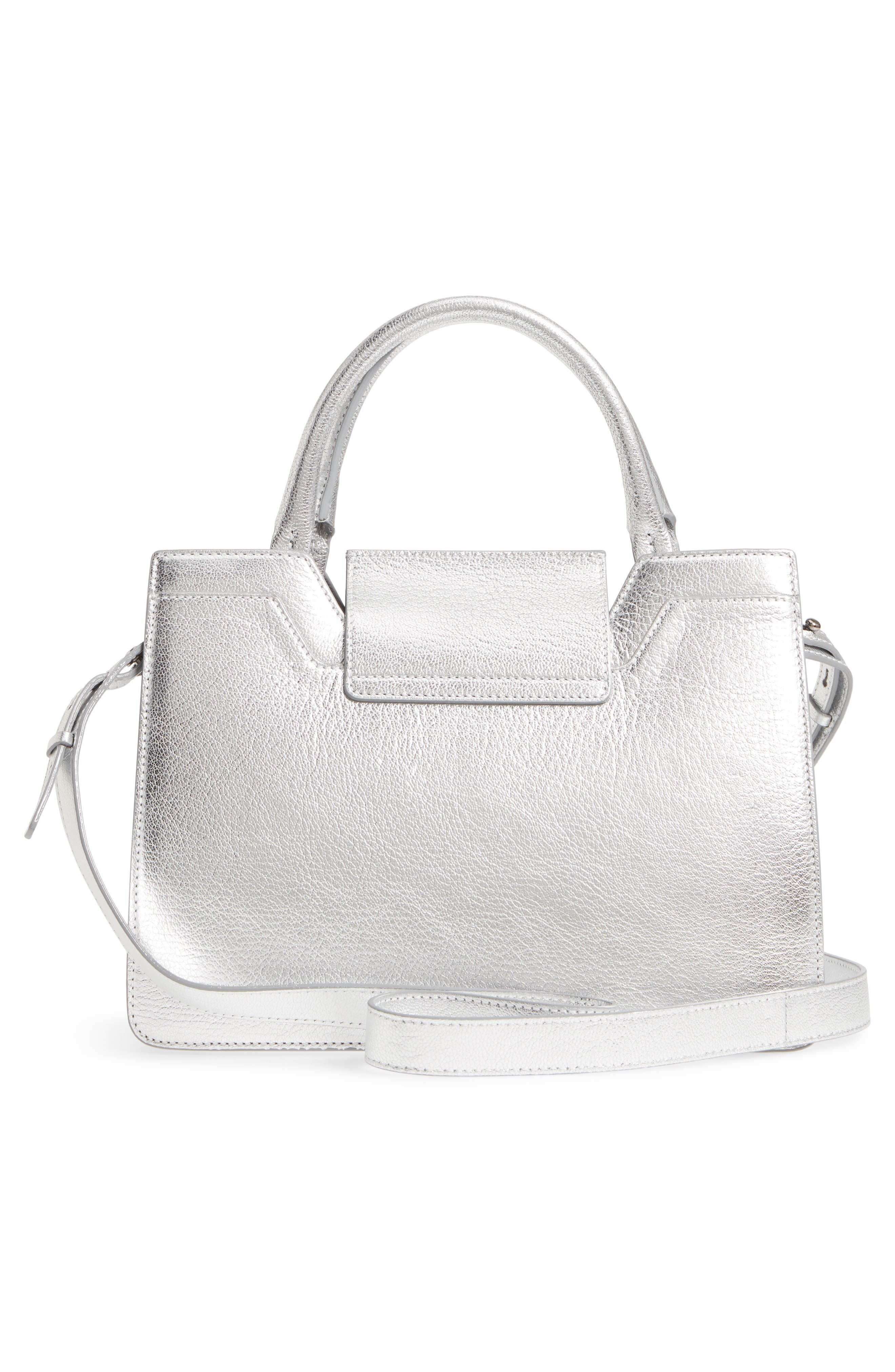 Small Rebel Metallic Leather Tote,                             Alternate thumbnail 3, color,                             Silver