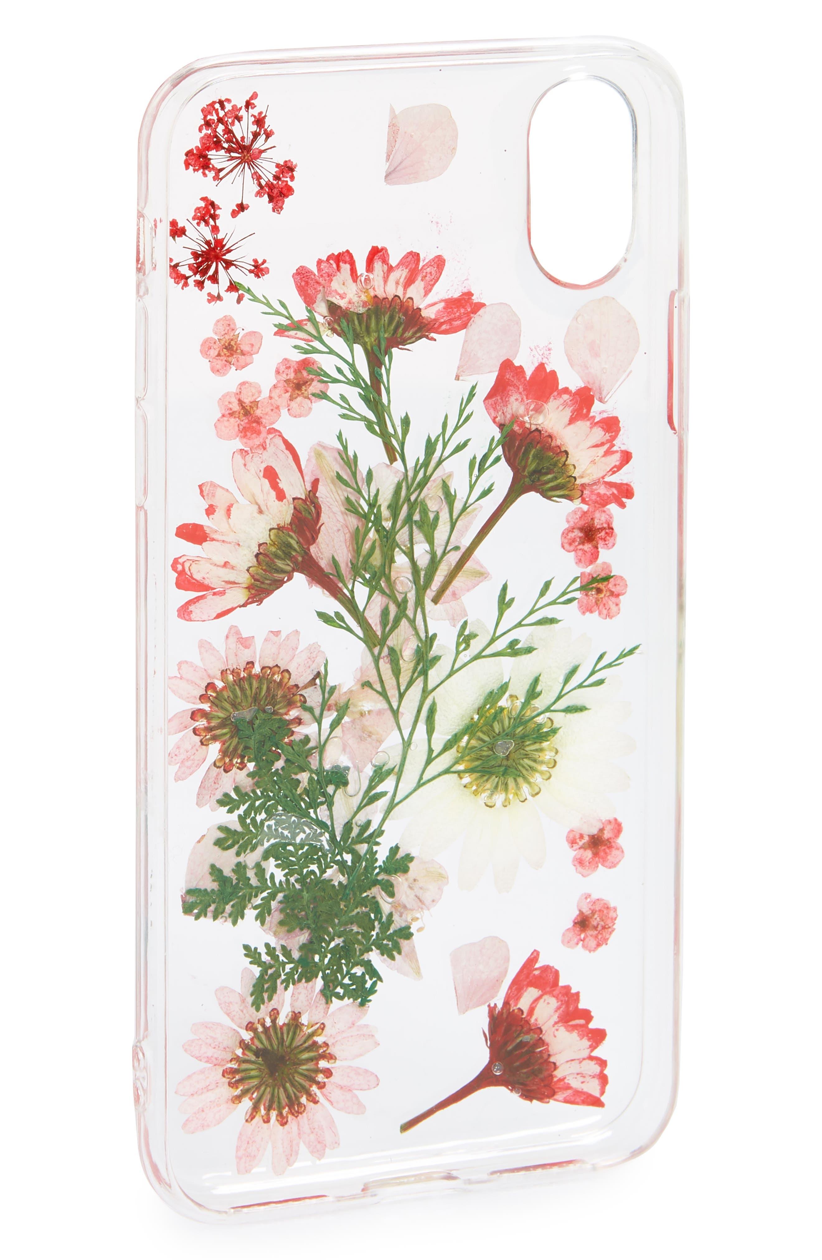 Floral iPhone X Case,                             Alternate thumbnail 2, color,                             Clear Multi