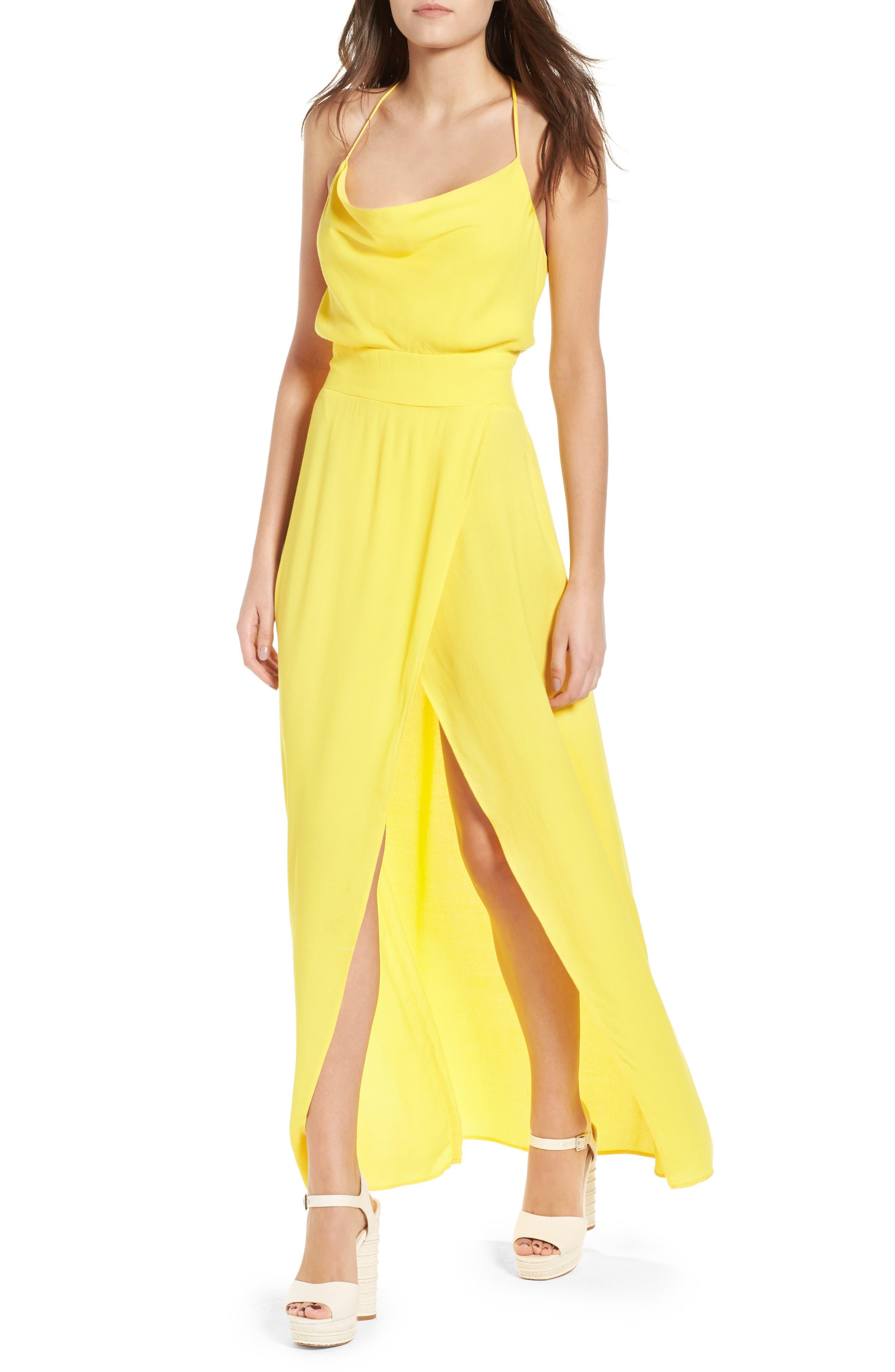 Rain Maxi Dress,                         Main,                         color, Gold
