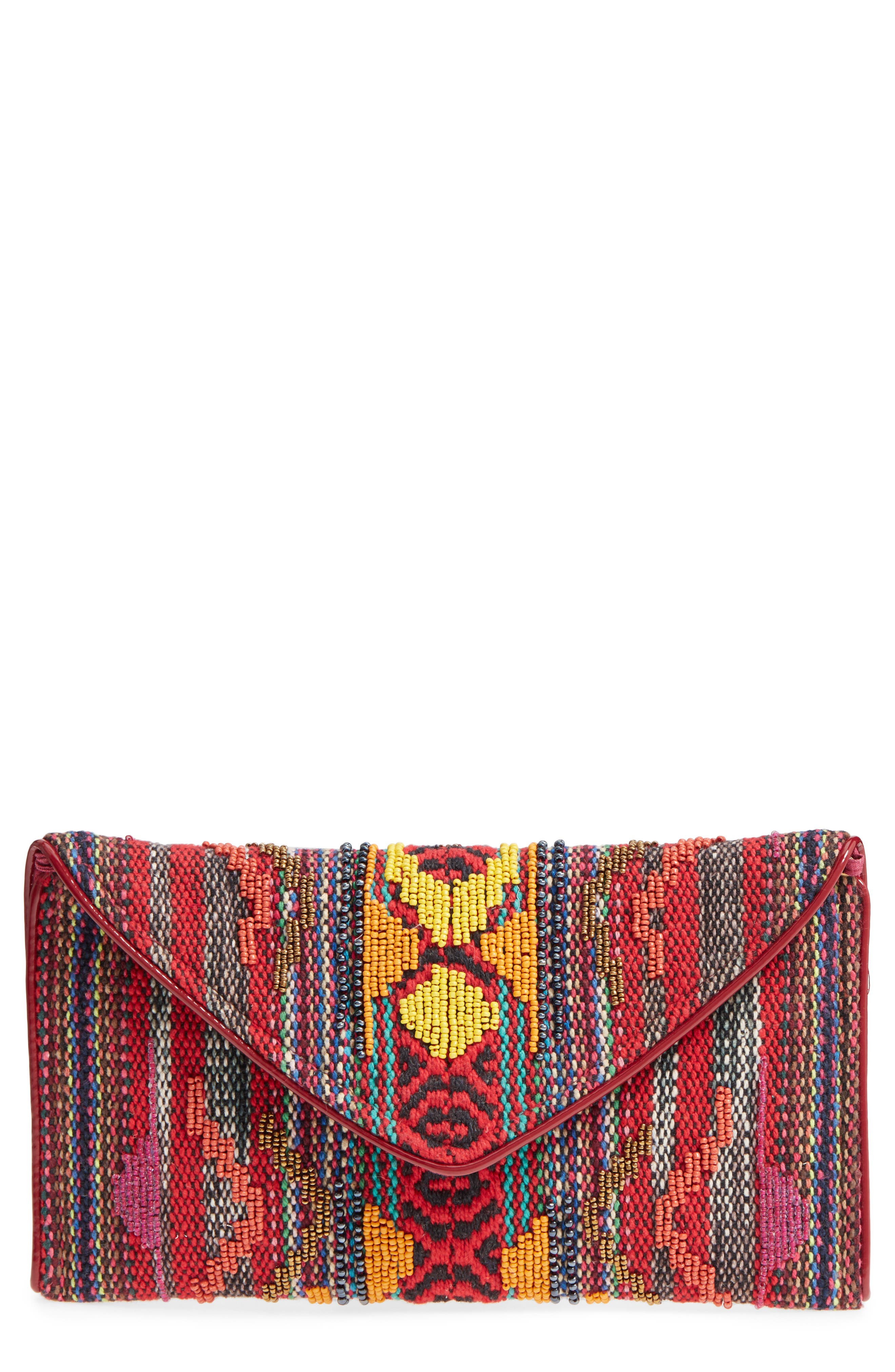 Envelope Printed Fabric Clutch,                         Main,                         color, Red