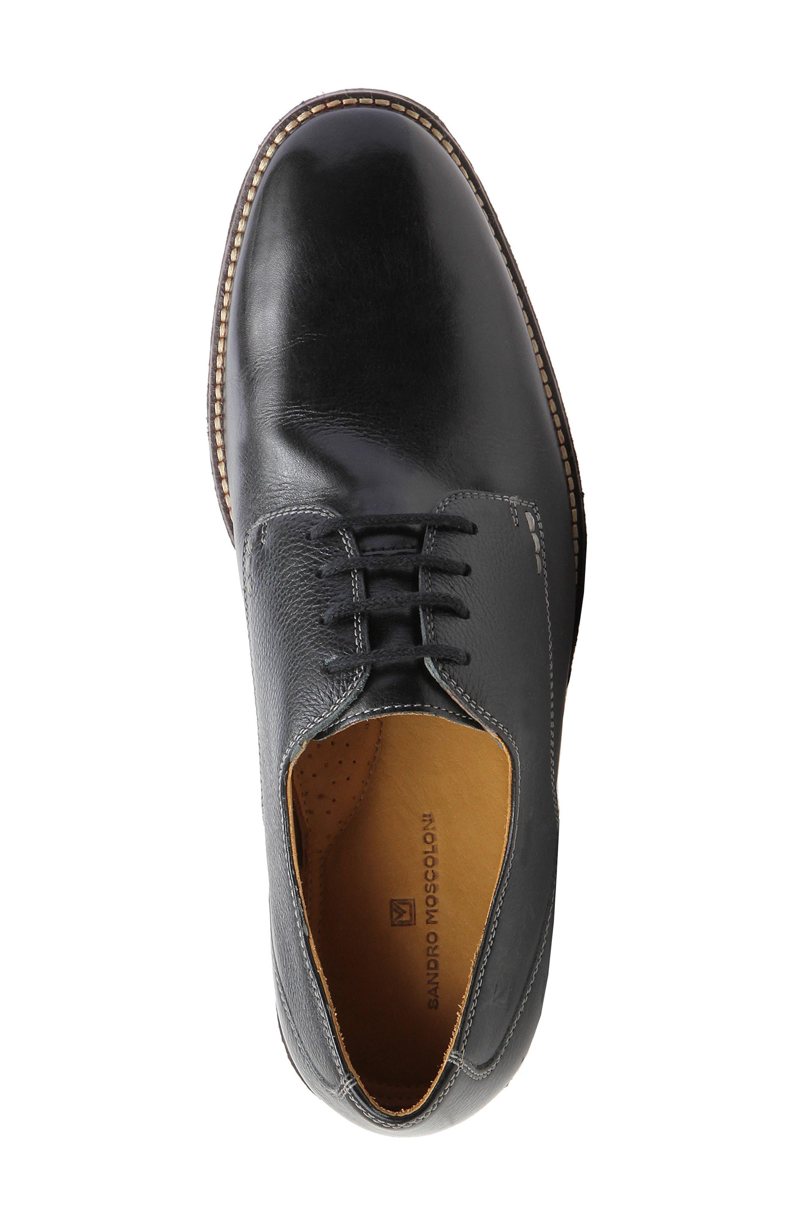 'Olsen' Plain Toe Derby,                             Alternate thumbnail 5, color,                             Black Leather