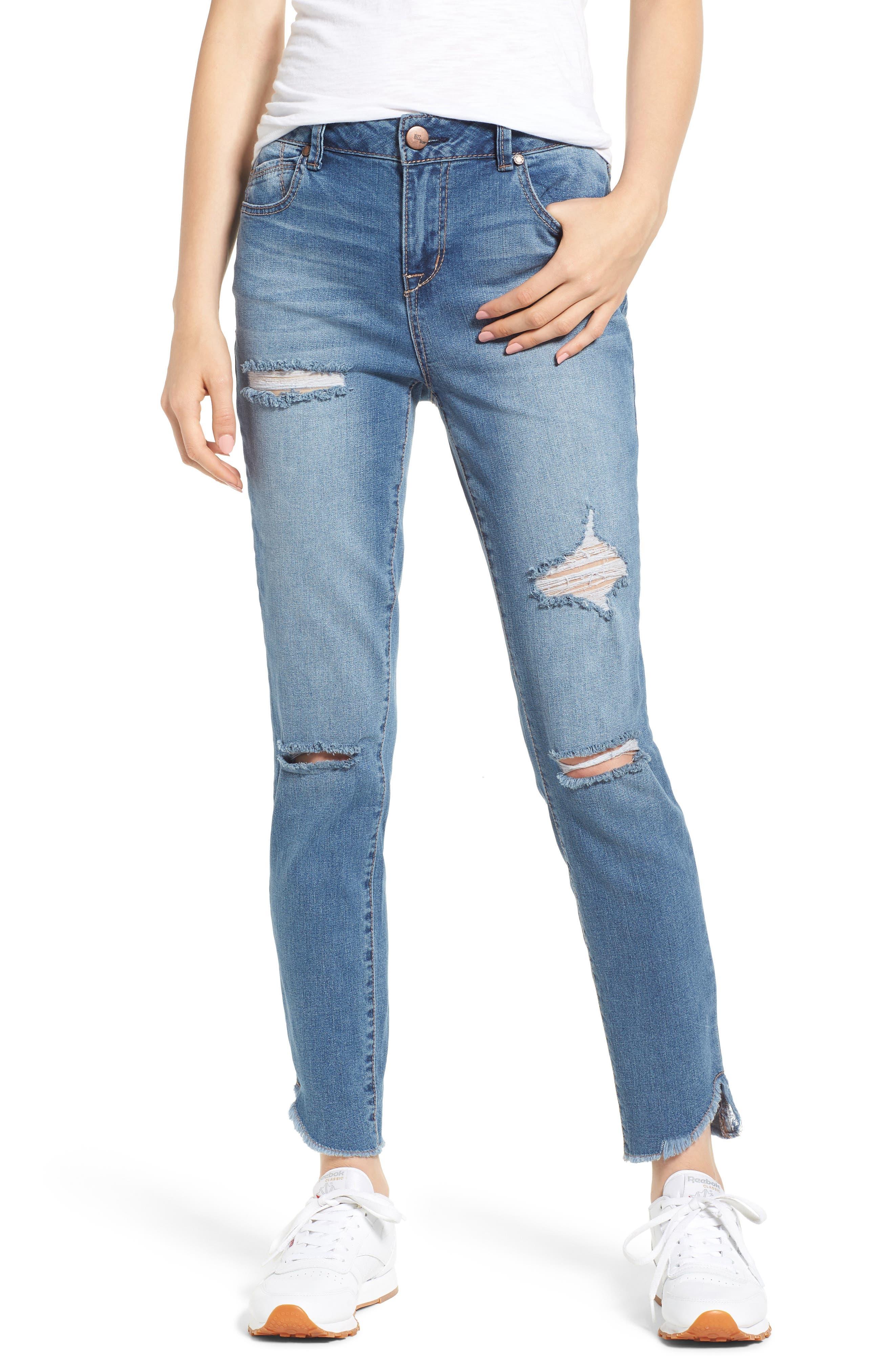 1822 Denim Distressed Angled Step Hem Skinny Jeans (Rose)