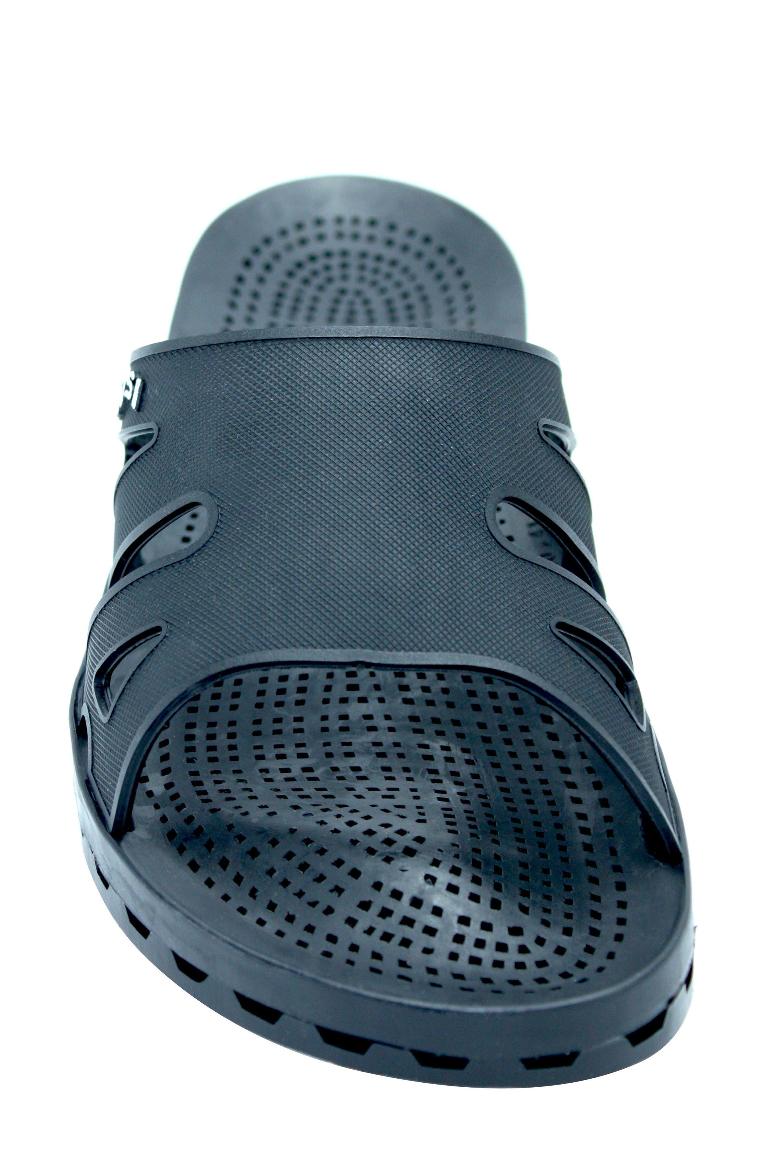 Regatta Slide Sandal,                             Alternate thumbnail 4, color,                             Solid Black Rubber