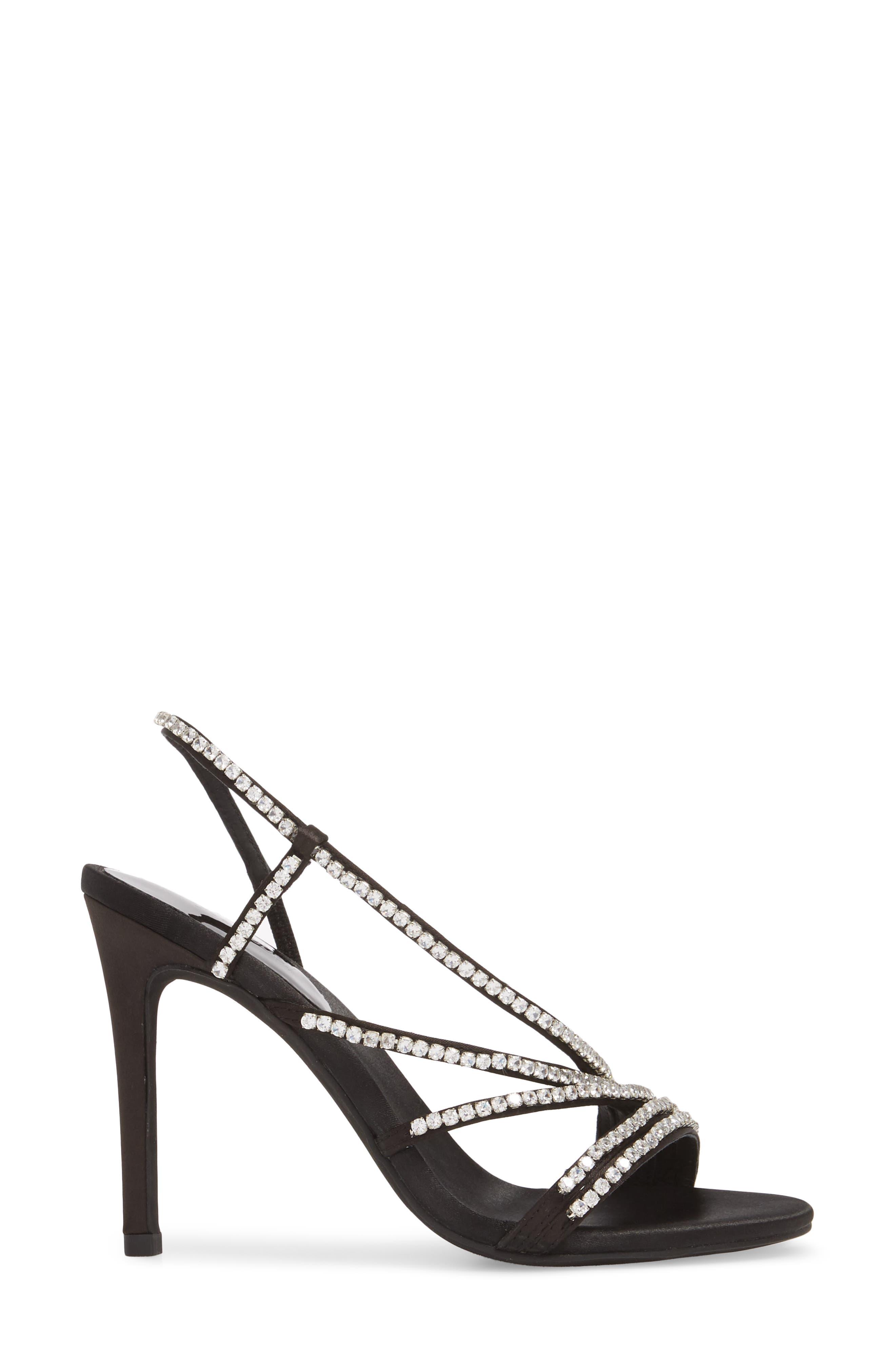 Lilian Embellished Strappy Sandal,                             Alternate thumbnail 3, color,                             Black Satin Silver