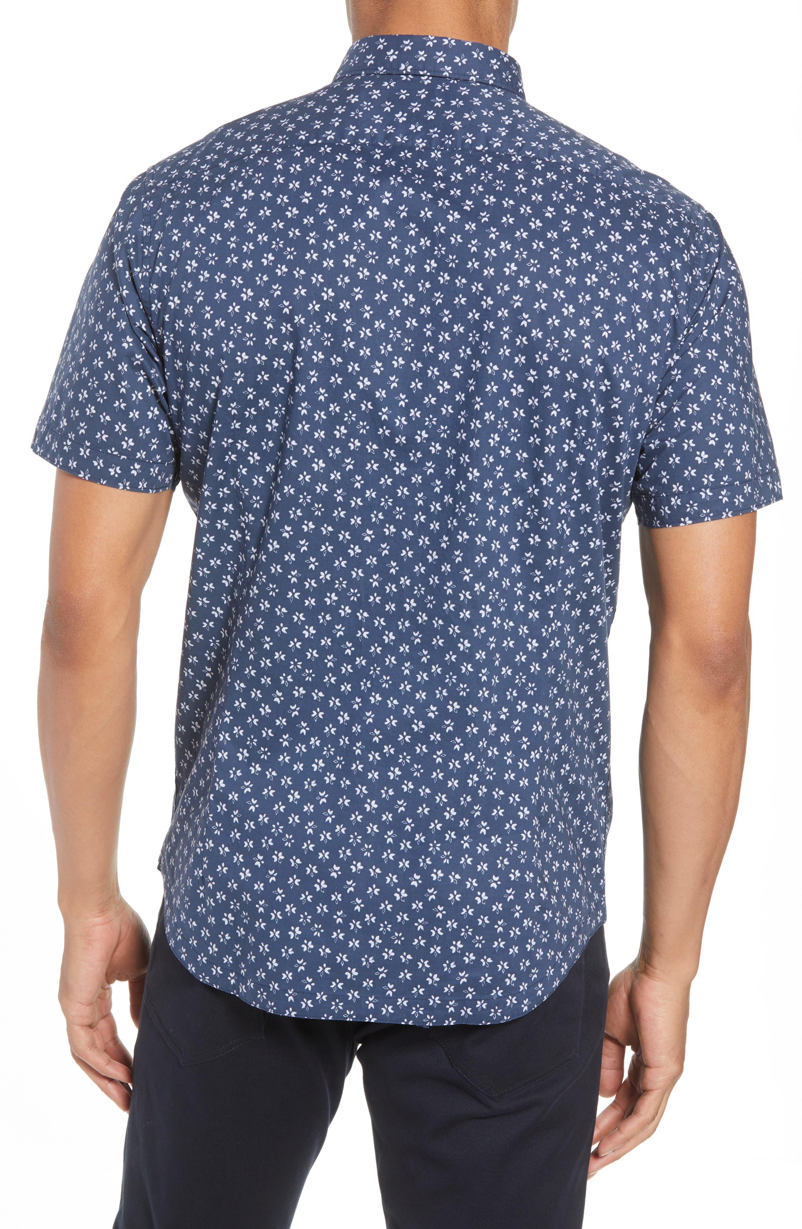 Slim Fit Print Sport Shirt,                             Alternate thumbnail 3, color,                             Indigo