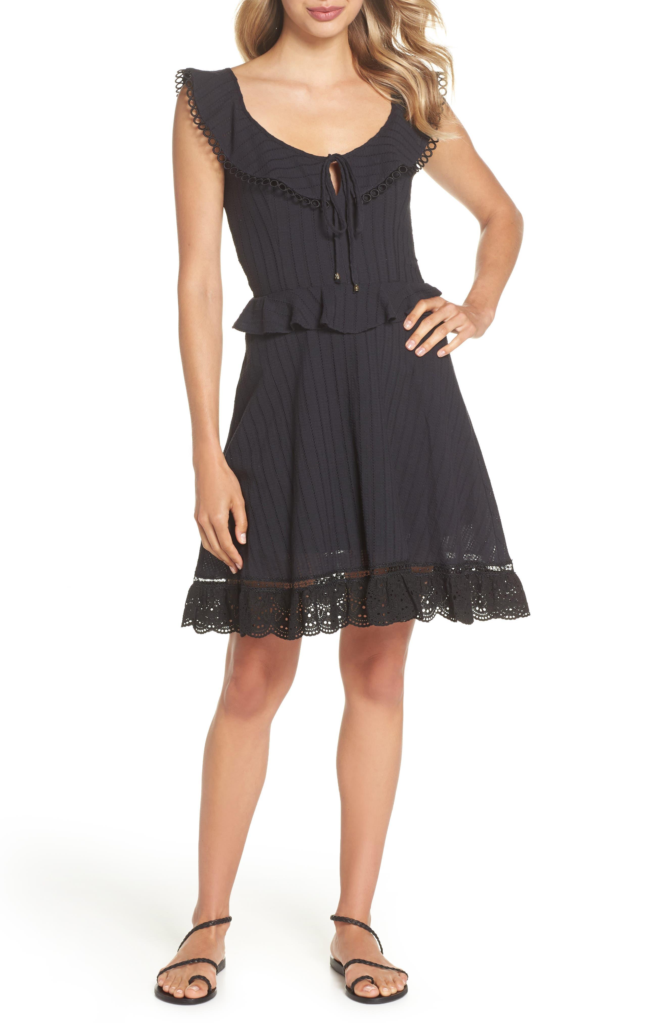 Kasey Peplum Fit & Flare Dress,                         Main,                         color, Black