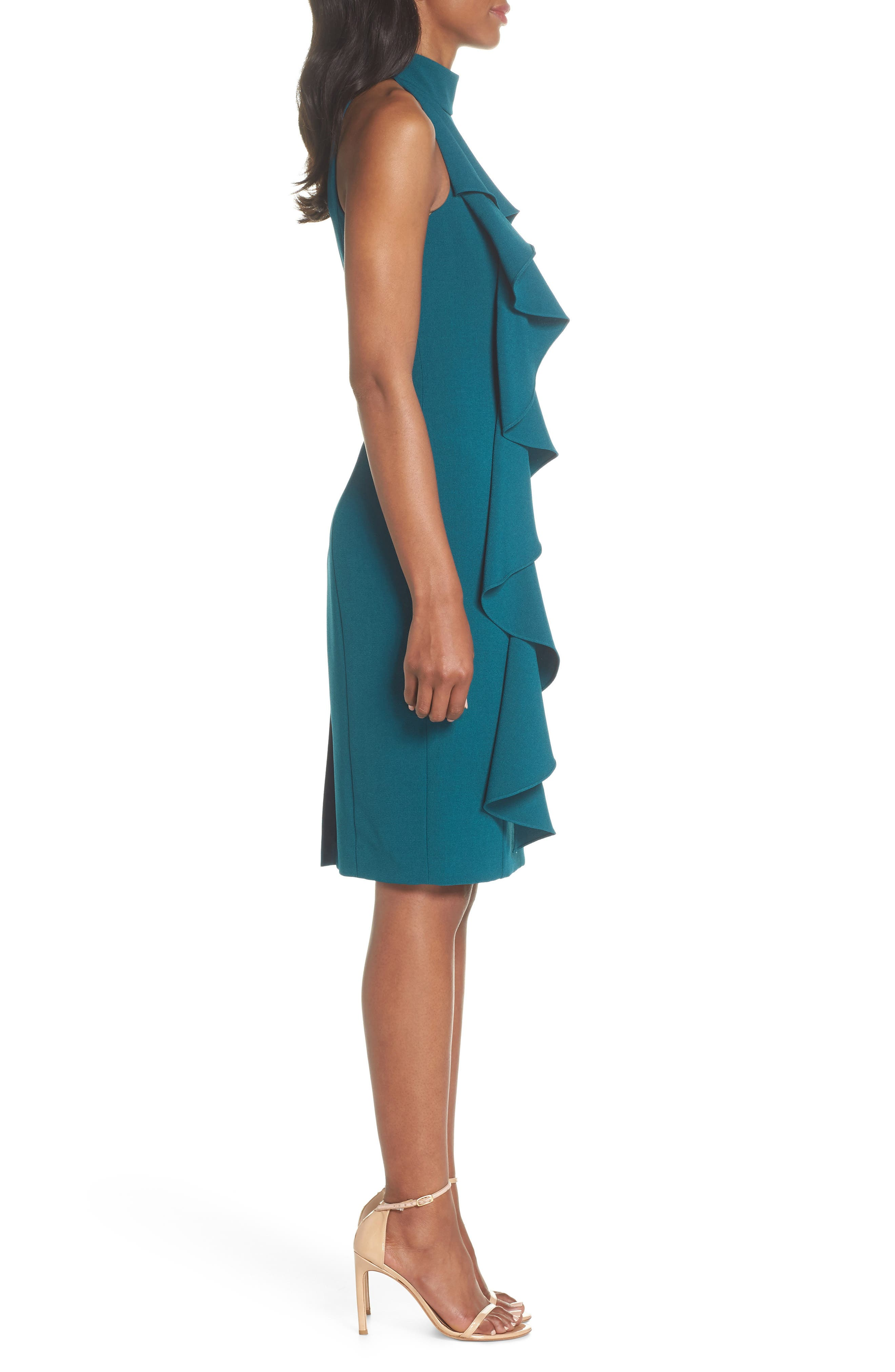 Ruffle Sheath Dress,                             Alternate thumbnail 3, color,                             Peacock