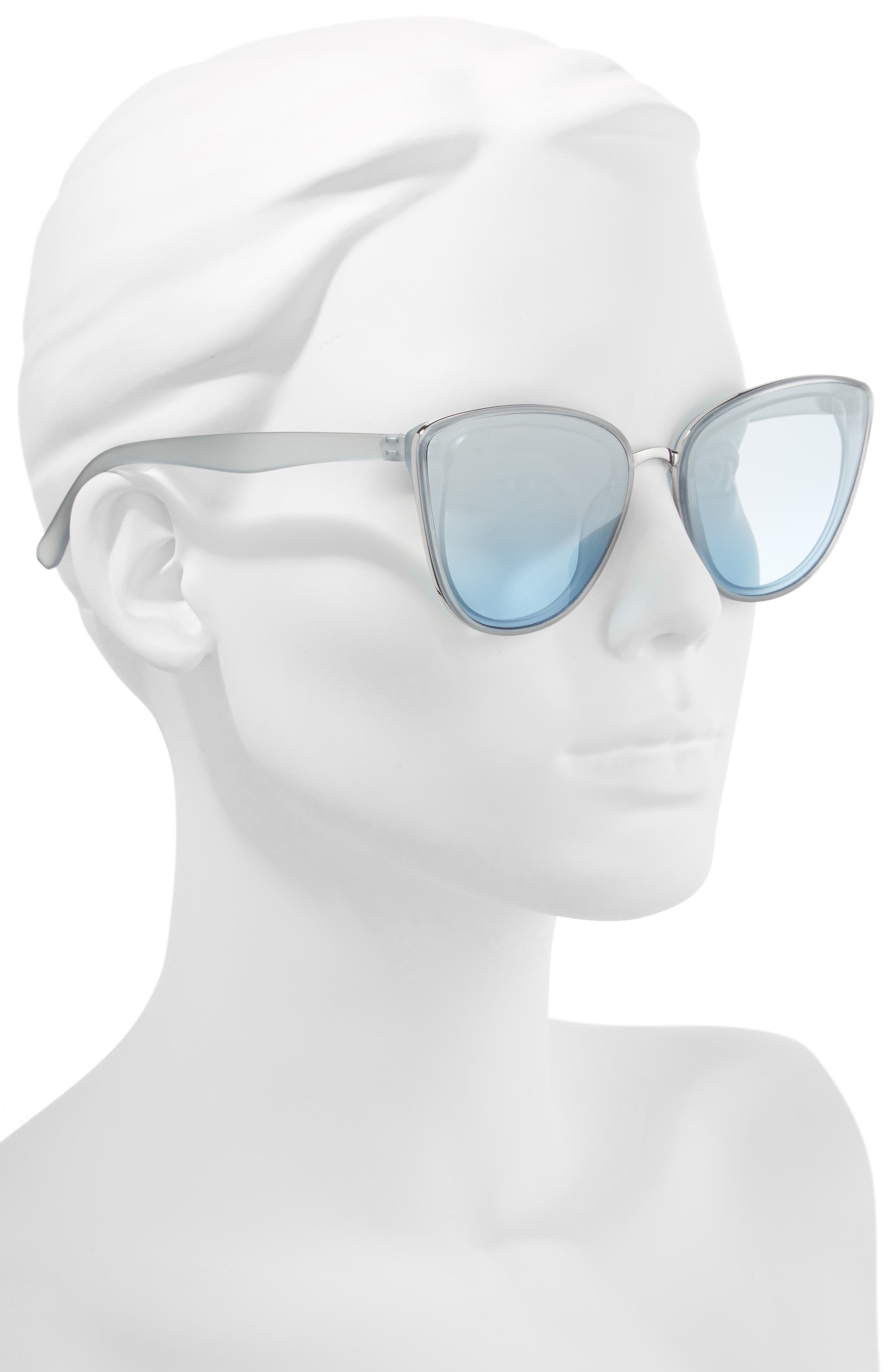 59mm Perfect Cat Eye Sunglasses,                             Alternate thumbnail 2, color,                             Blue/ Blue