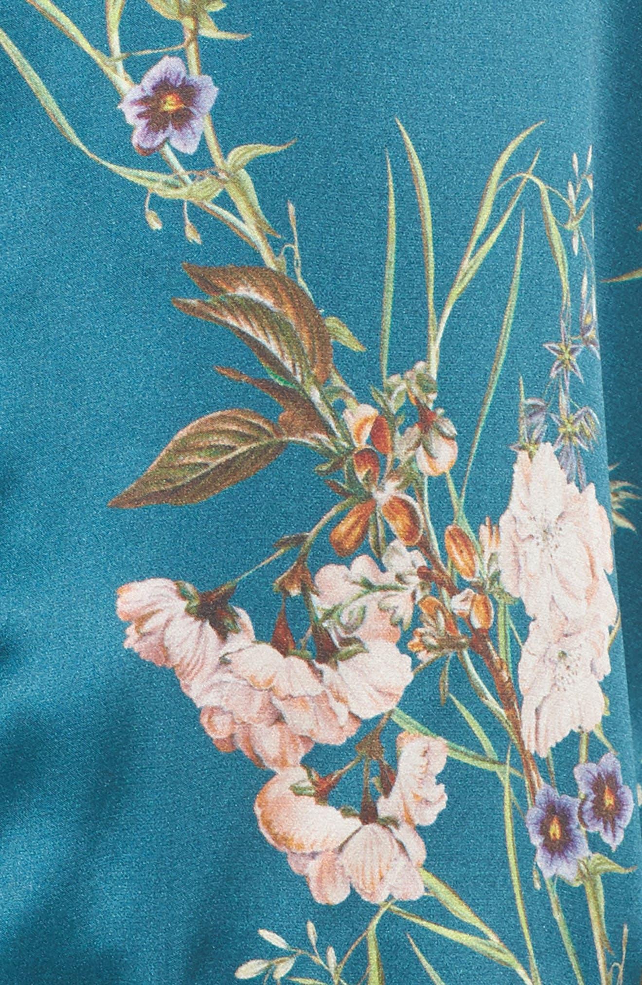 Brigette Silk Pajama Top,                             Alternate thumbnail 6, color,                             Teal Floral