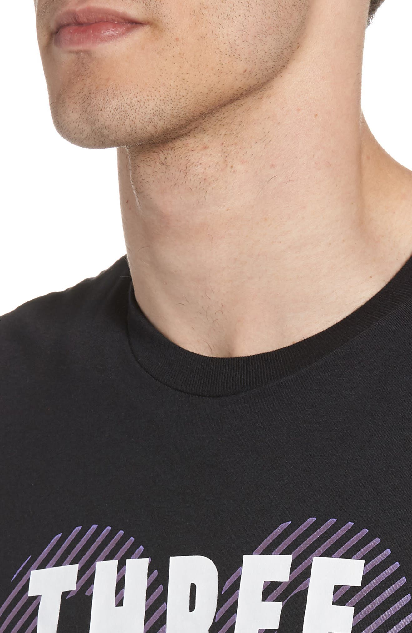 Three Stripe Life Metallic T-Shirt,                             Alternate thumbnail 4, color,                             Black / White