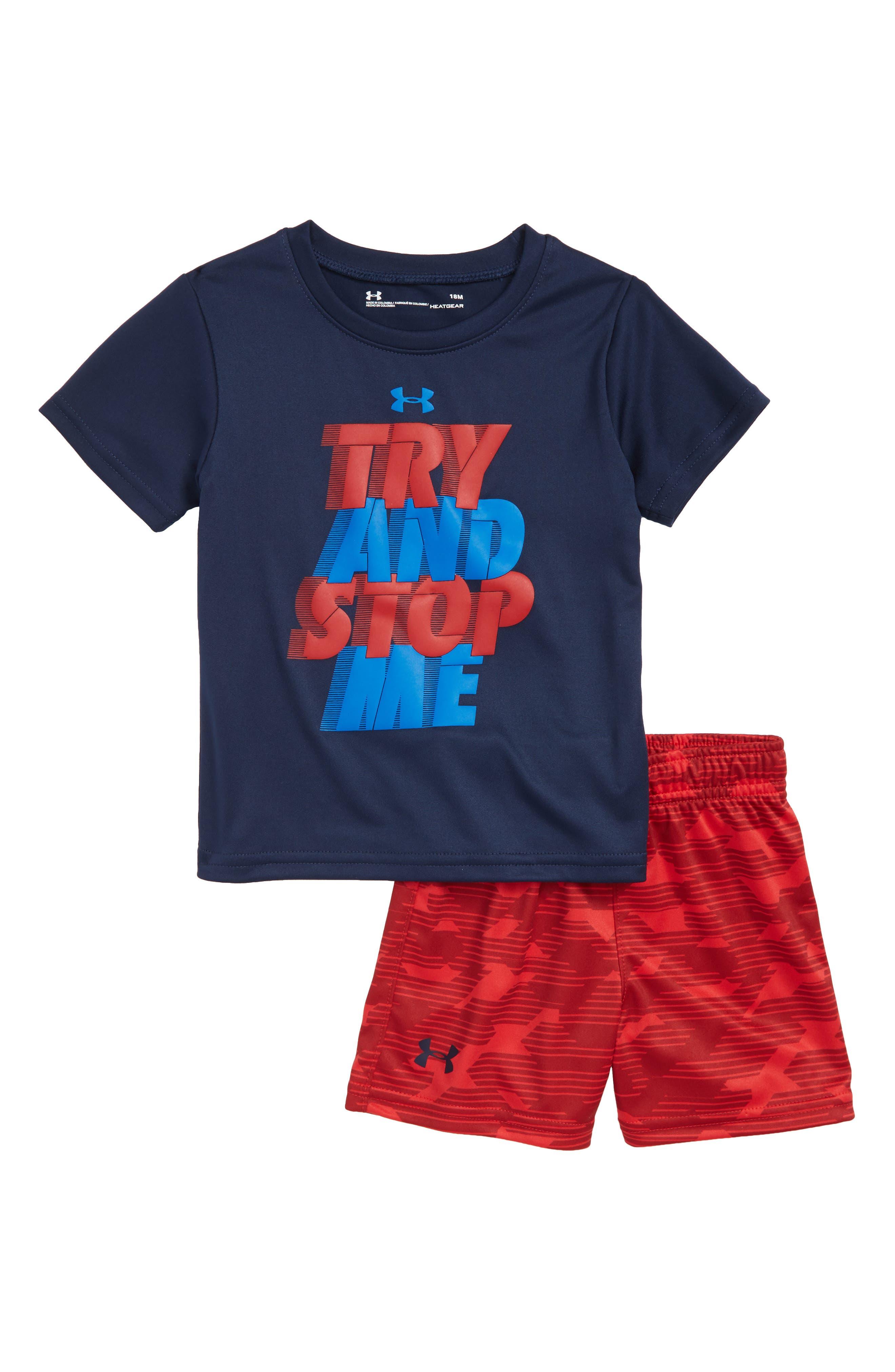 Try & Stop Me HeatGear<sup>®</sup> T-Shirt & Shorts Set,                             Main thumbnail 1, color,                             Academy