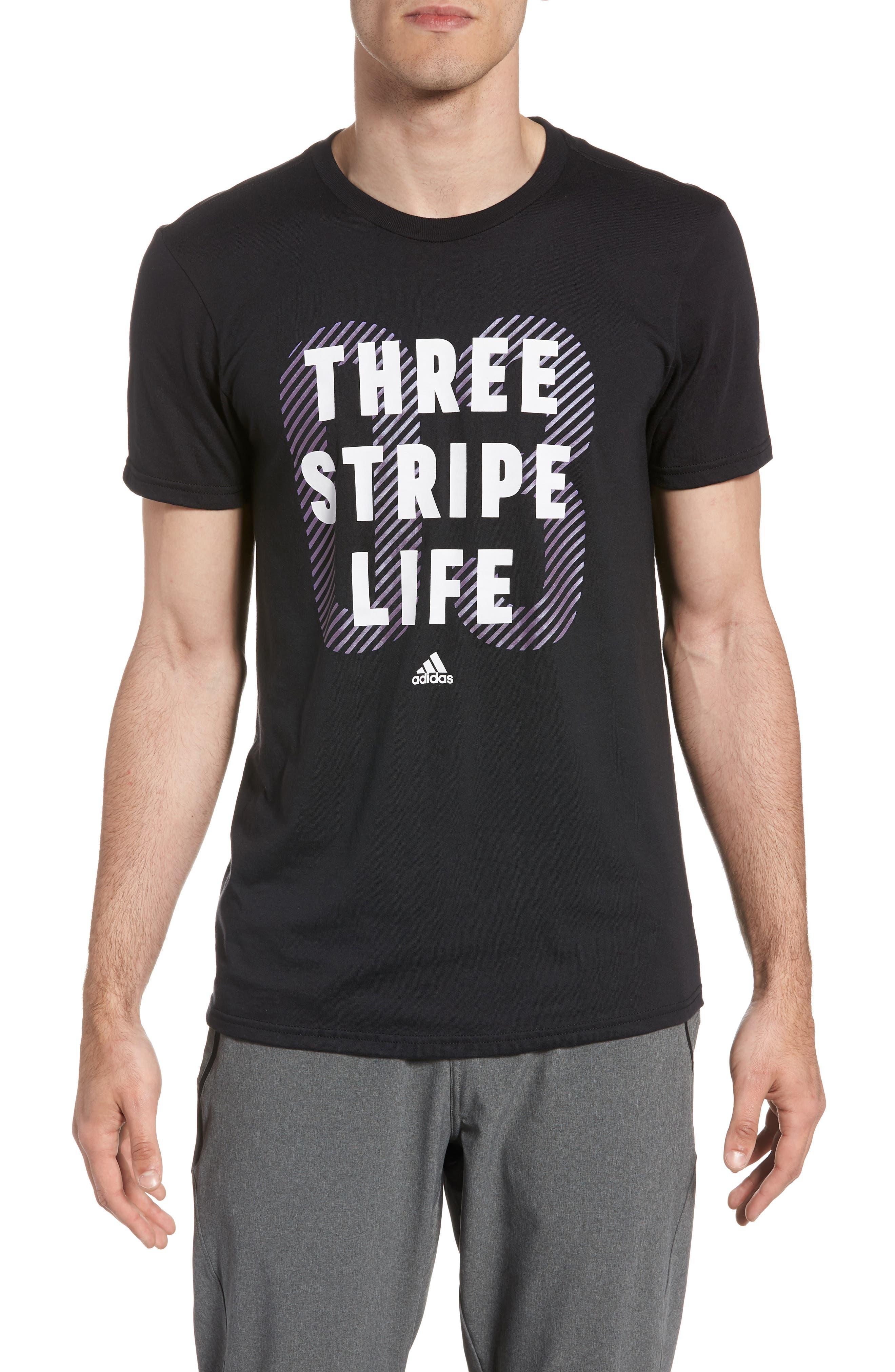 Three Stripe Life Metallic T-Shirt,                             Main thumbnail 1, color,                             Black / White
