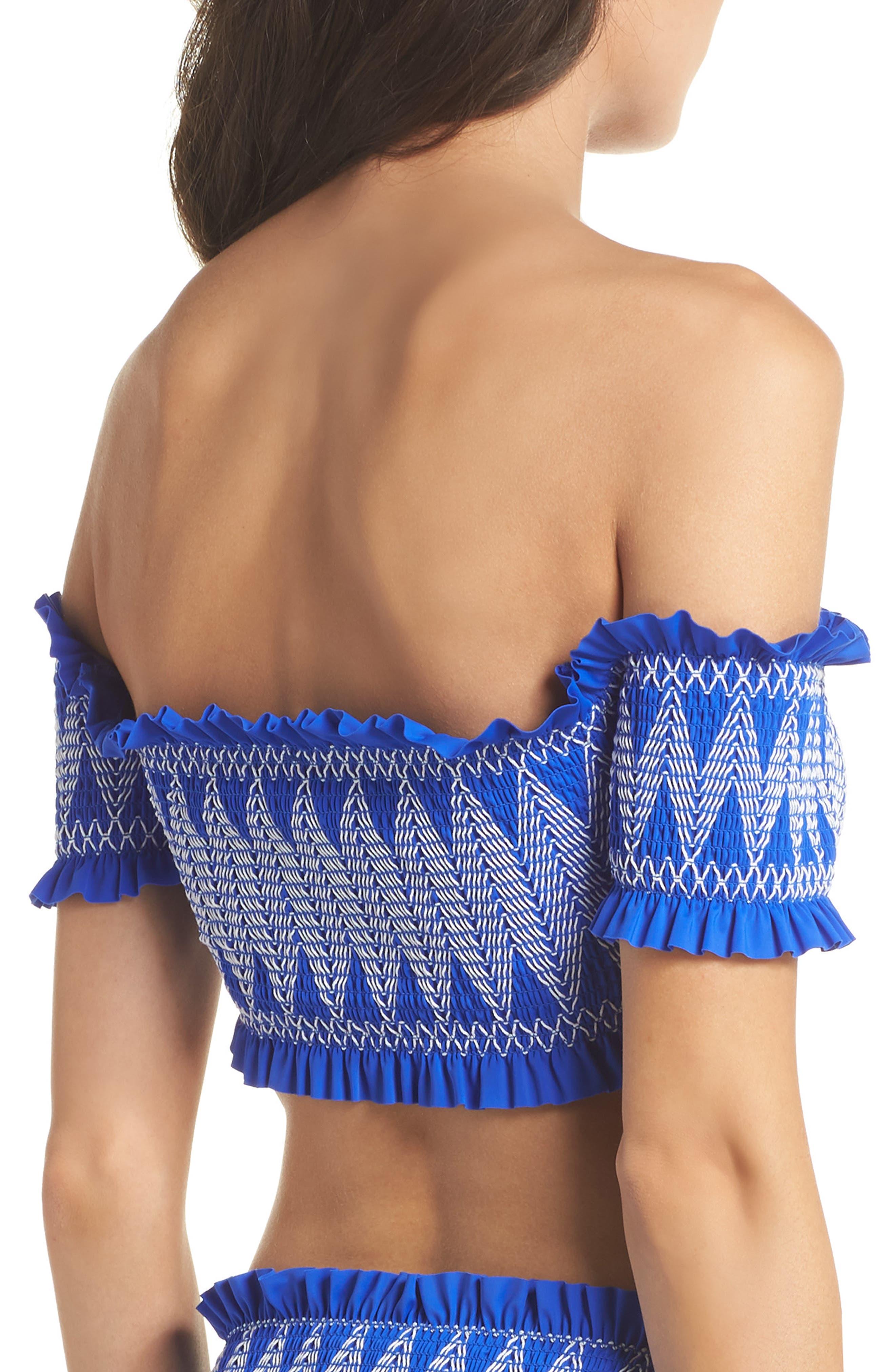 Smocked Bardot Bikini Top,                             Alternate thumbnail 2, color,                             Bright Blue