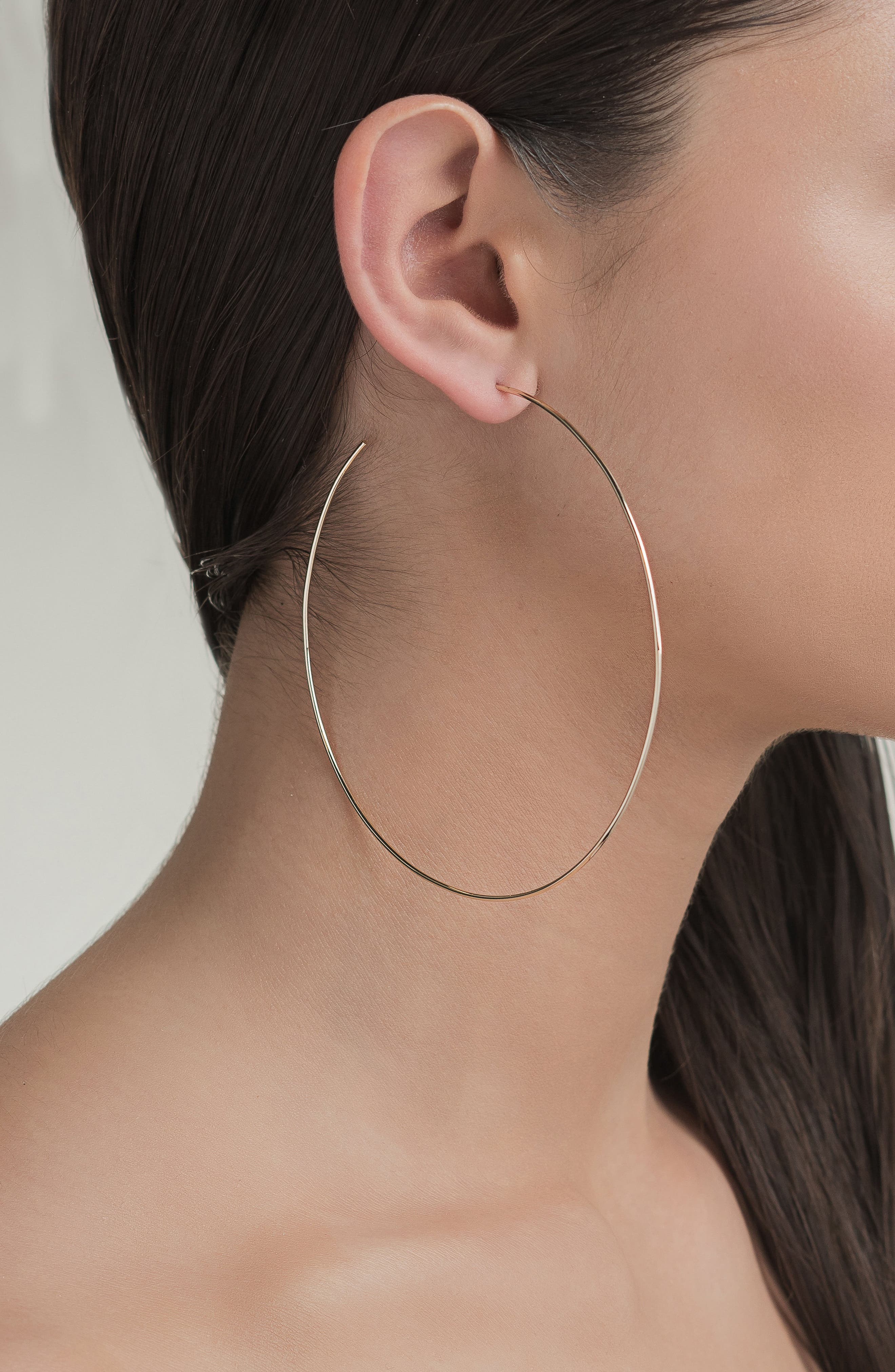 Open Wire Hoop Earrings,                             Alternate thumbnail 2, color,                             Yellow Gold