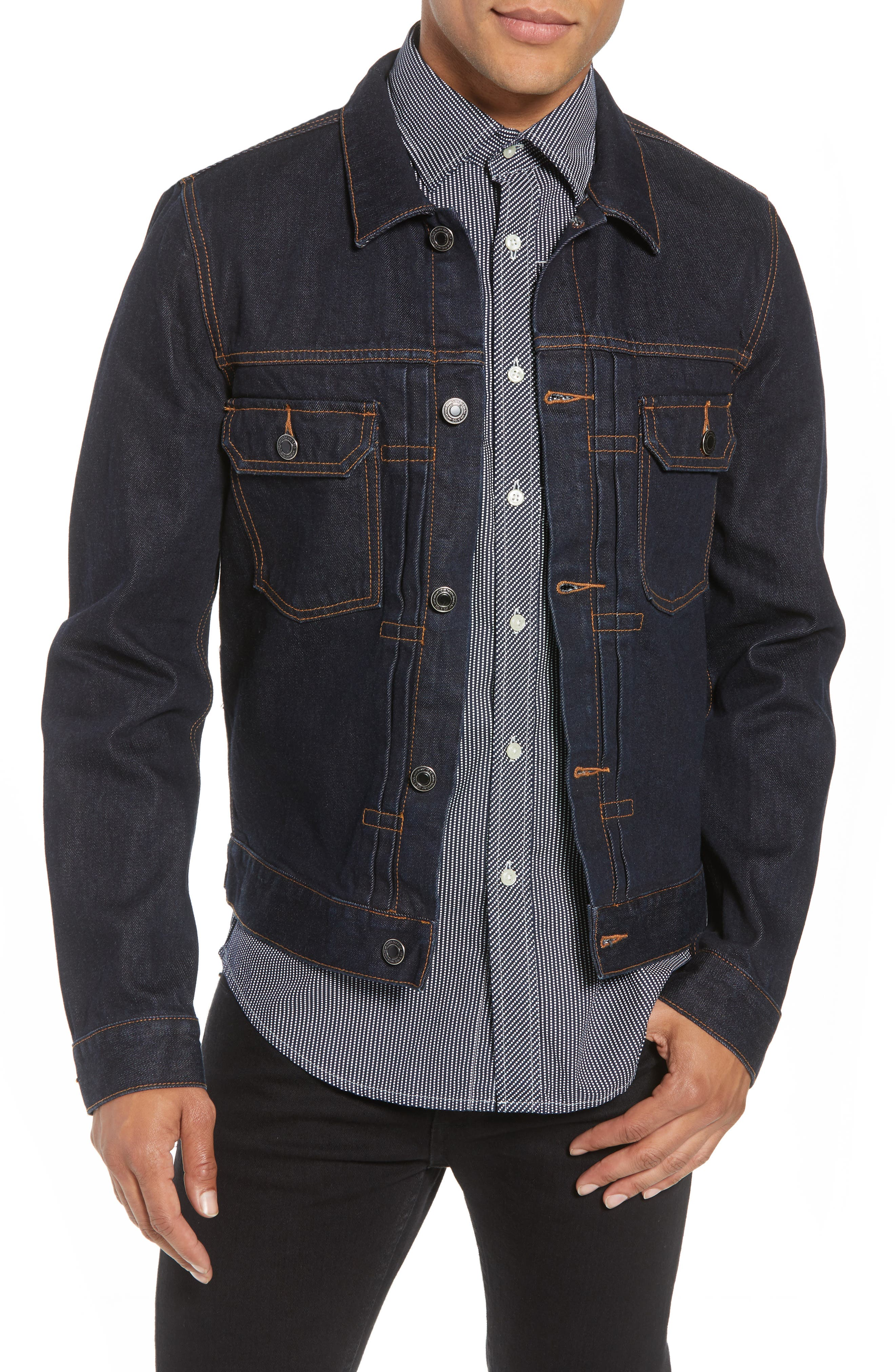 Luxe Denim Jacket,                             Main thumbnail 1, color,                             Deepest Indigo