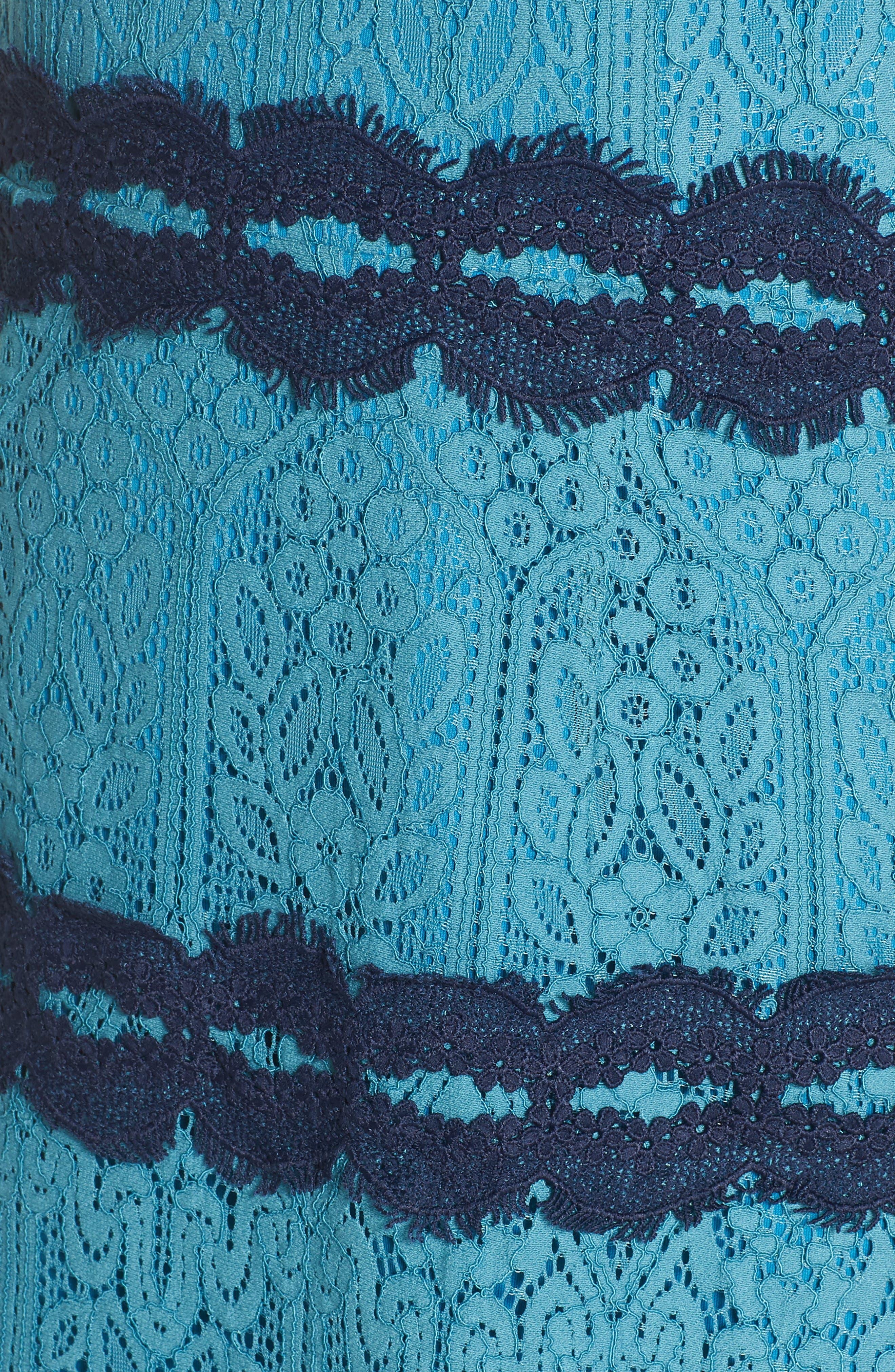 Lula Ruffle Lace Dress,                             Alternate thumbnail 6, color,                             Teal/ Navy