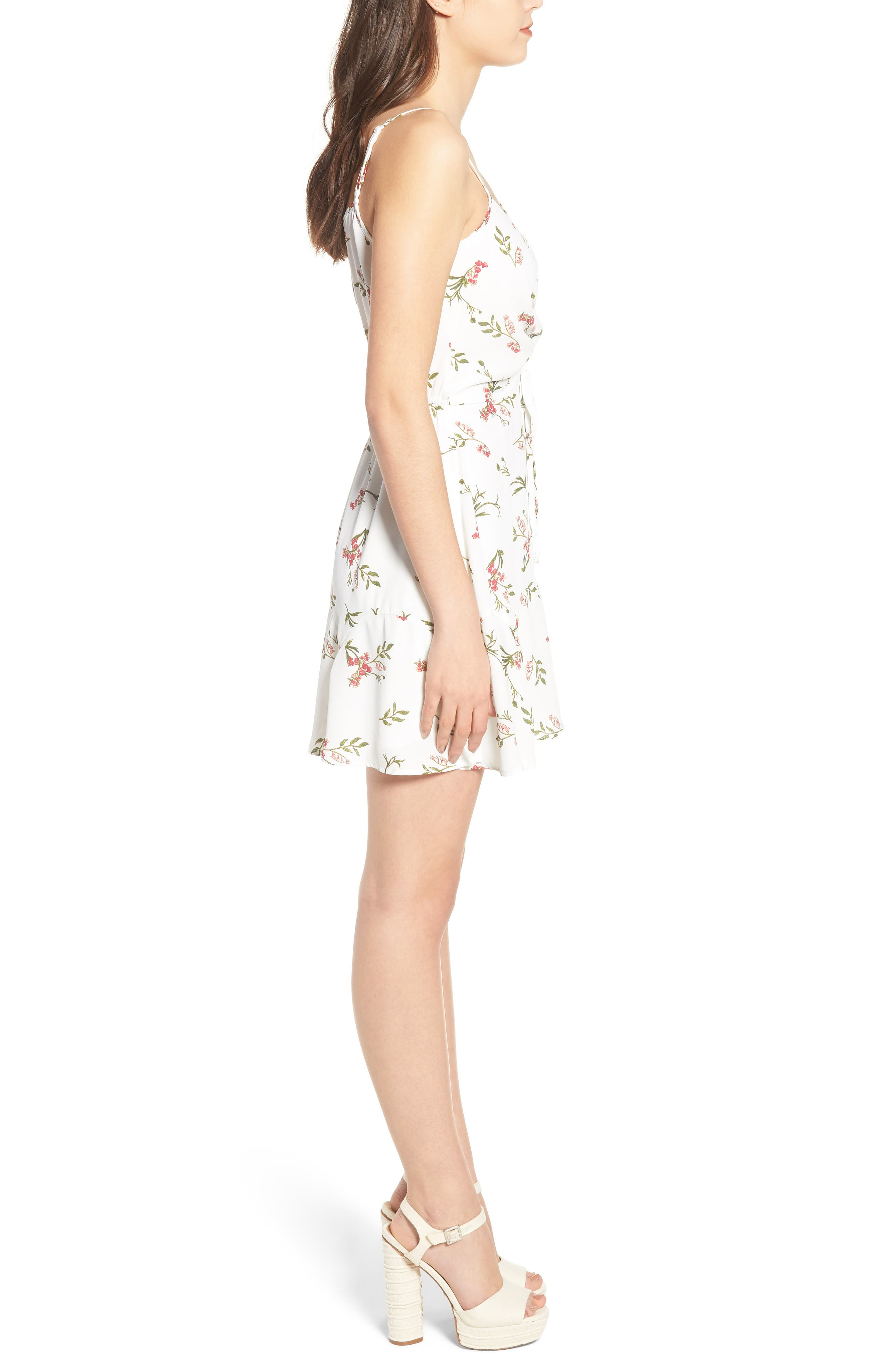 Cinch Front Minidress,                             Alternate thumbnail 3, color,                             Ivory Floral Per Sample