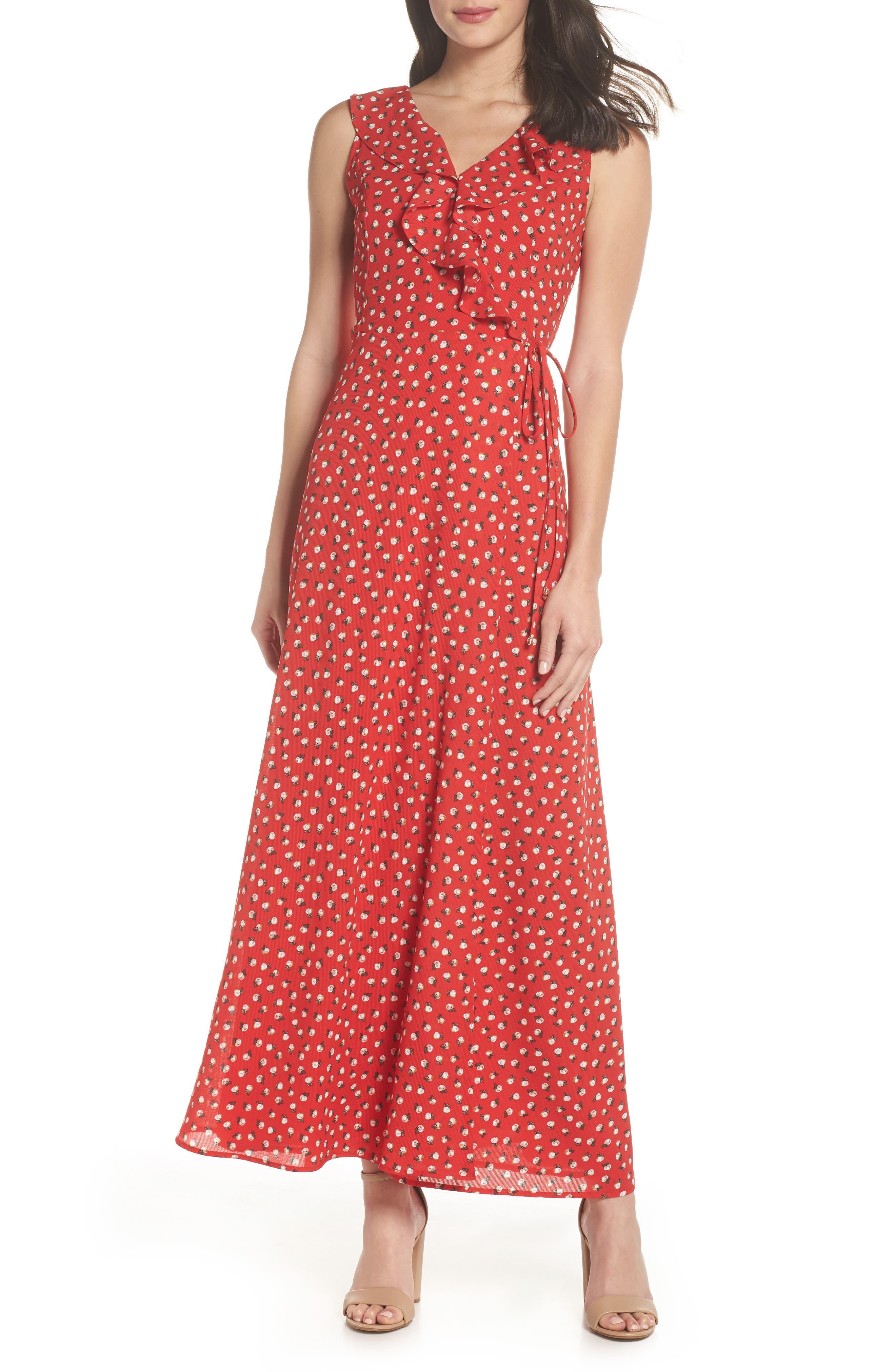 Nora Maxi Dress,                             Main thumbnail 1, color,                             Cherry