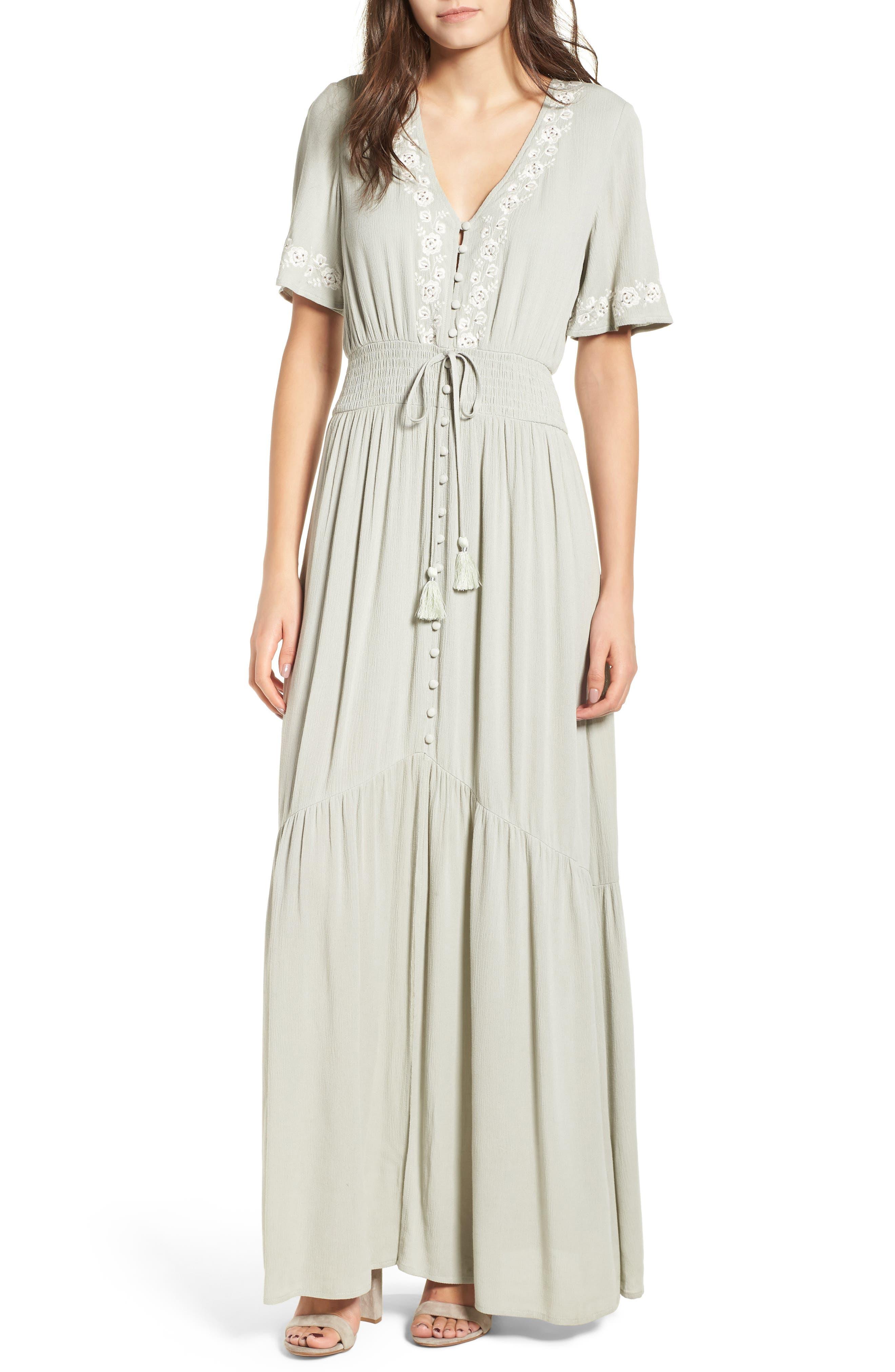 Athena Embroidered Maxi Dress,                         Main,                         color, Sage