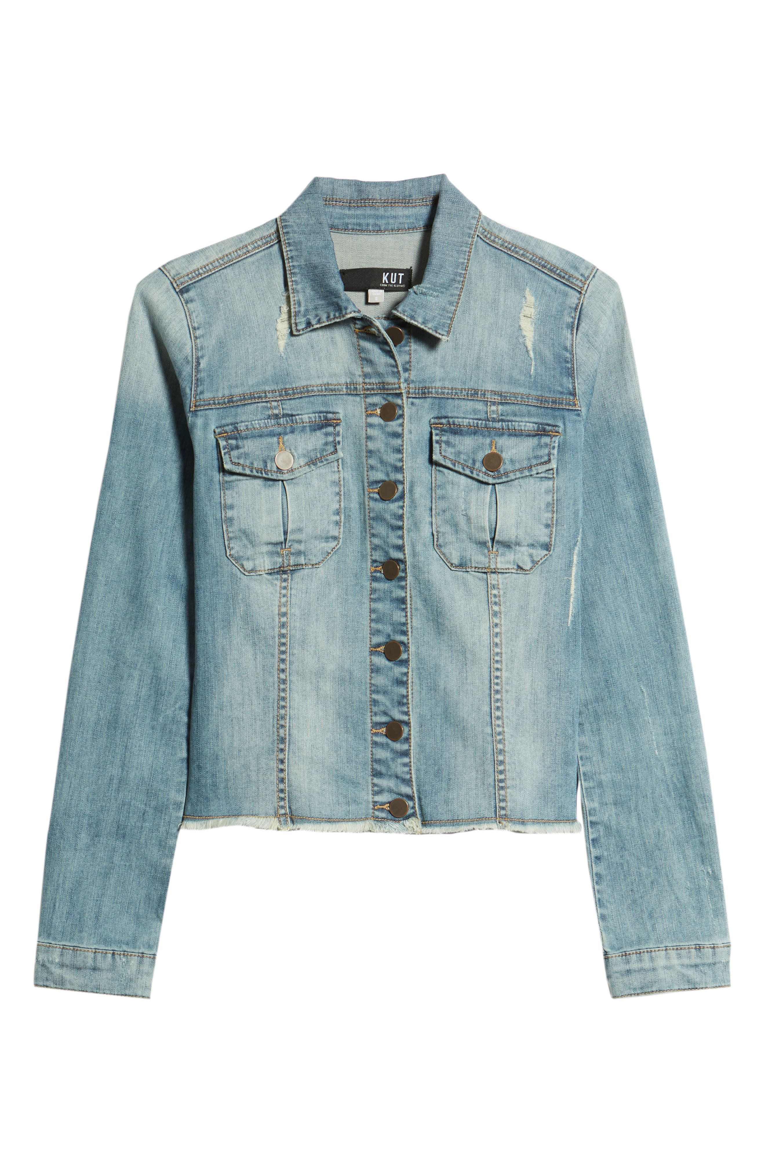 KUT from the Kloth Kara Denim Jacket,                             Alternate thumbnail 7, color,                             Confront