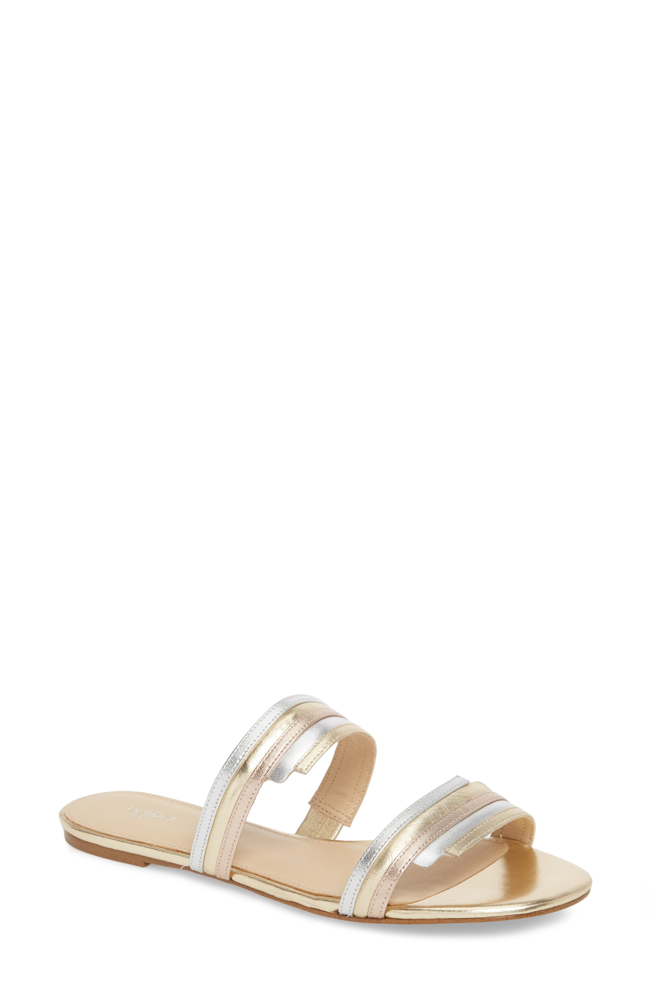 Maise Slide Sandal,                         Main,                         color, Ivory Multi Leather