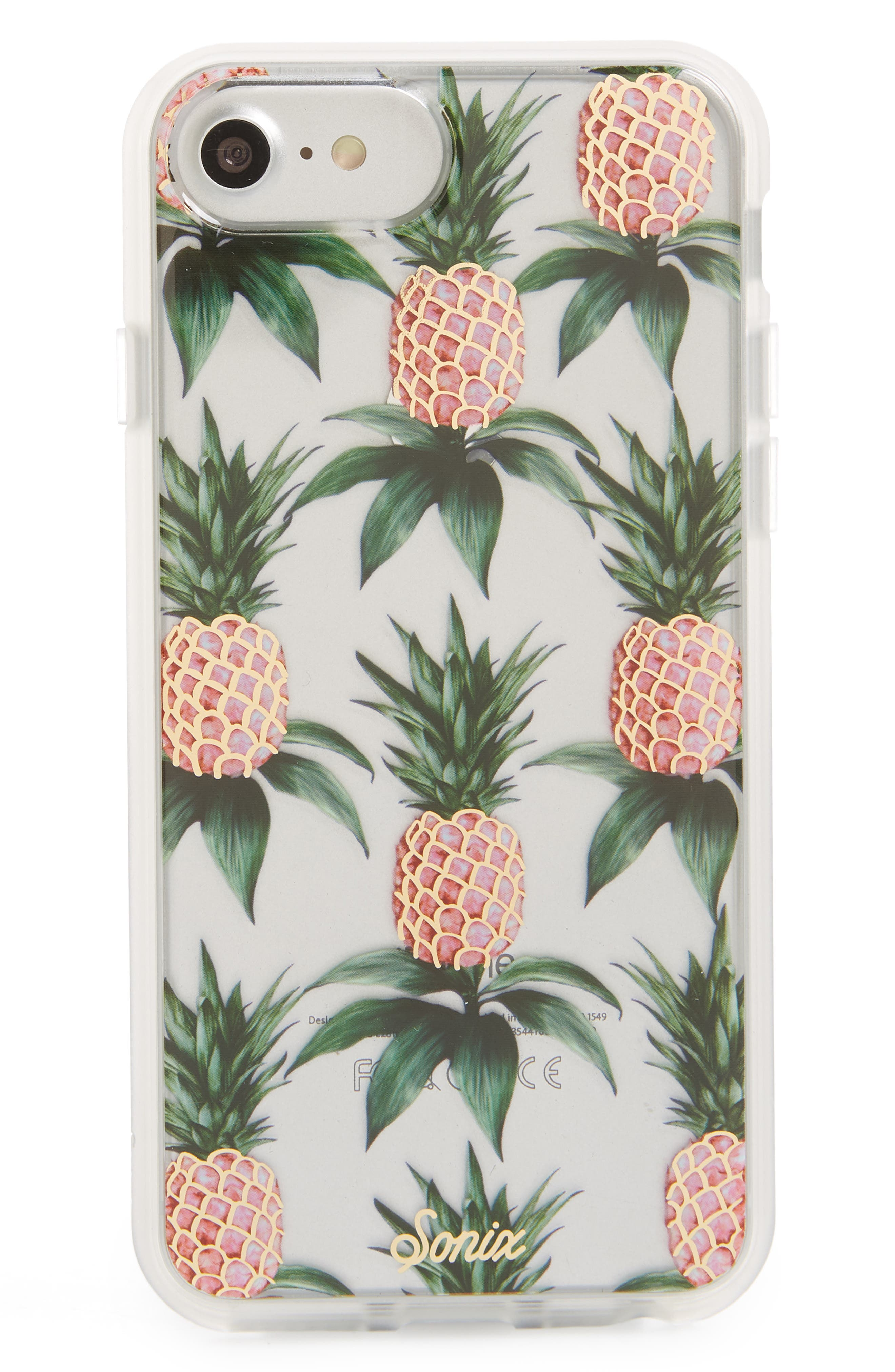 Pink Pineapple iPhone 6/6s/7/8 & iPhone 6/6s/7/8 Plus Case,                             Main thumbnail 1, color,                             Clear/ Multi