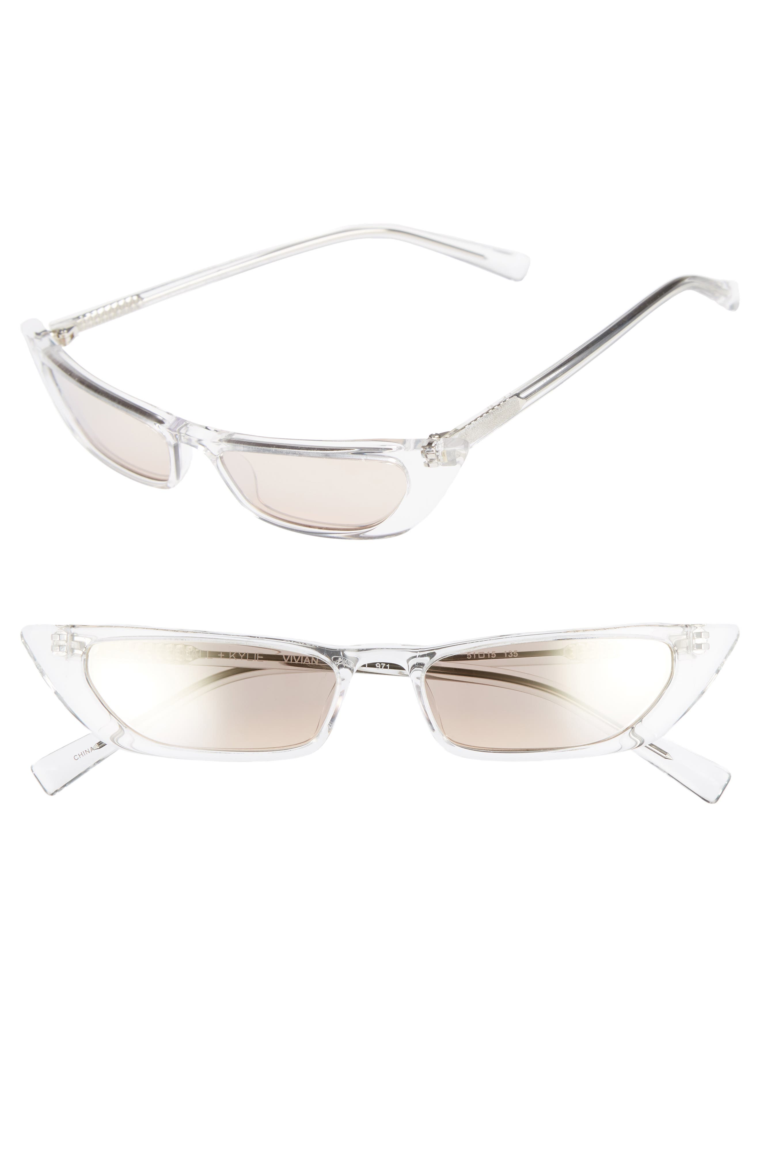 Vivian Extreme 51mm Cat Eye Sunglasses,                         Main,                         color, Crystal/ Golden Hour Gradient
