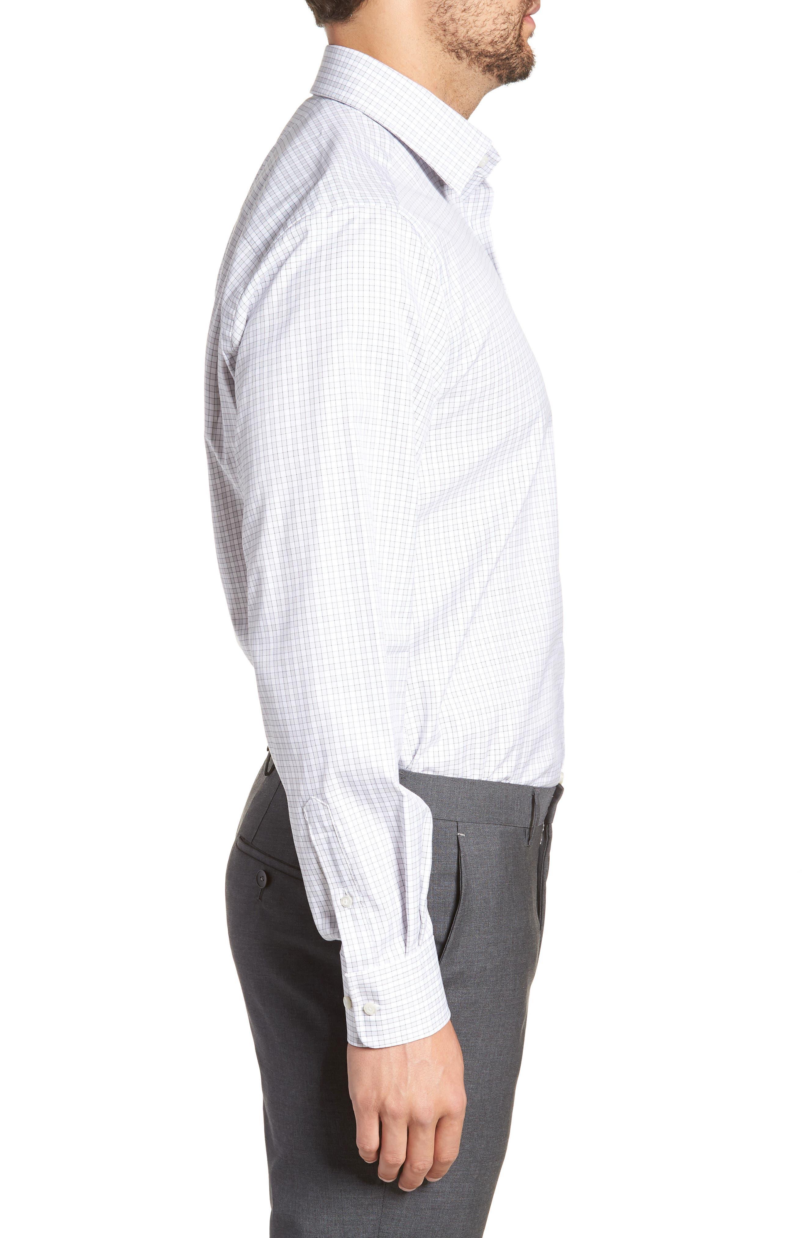 Regular Fit Check Dress Shirt,                             Alternate thumbnail 4, color,                             Gray