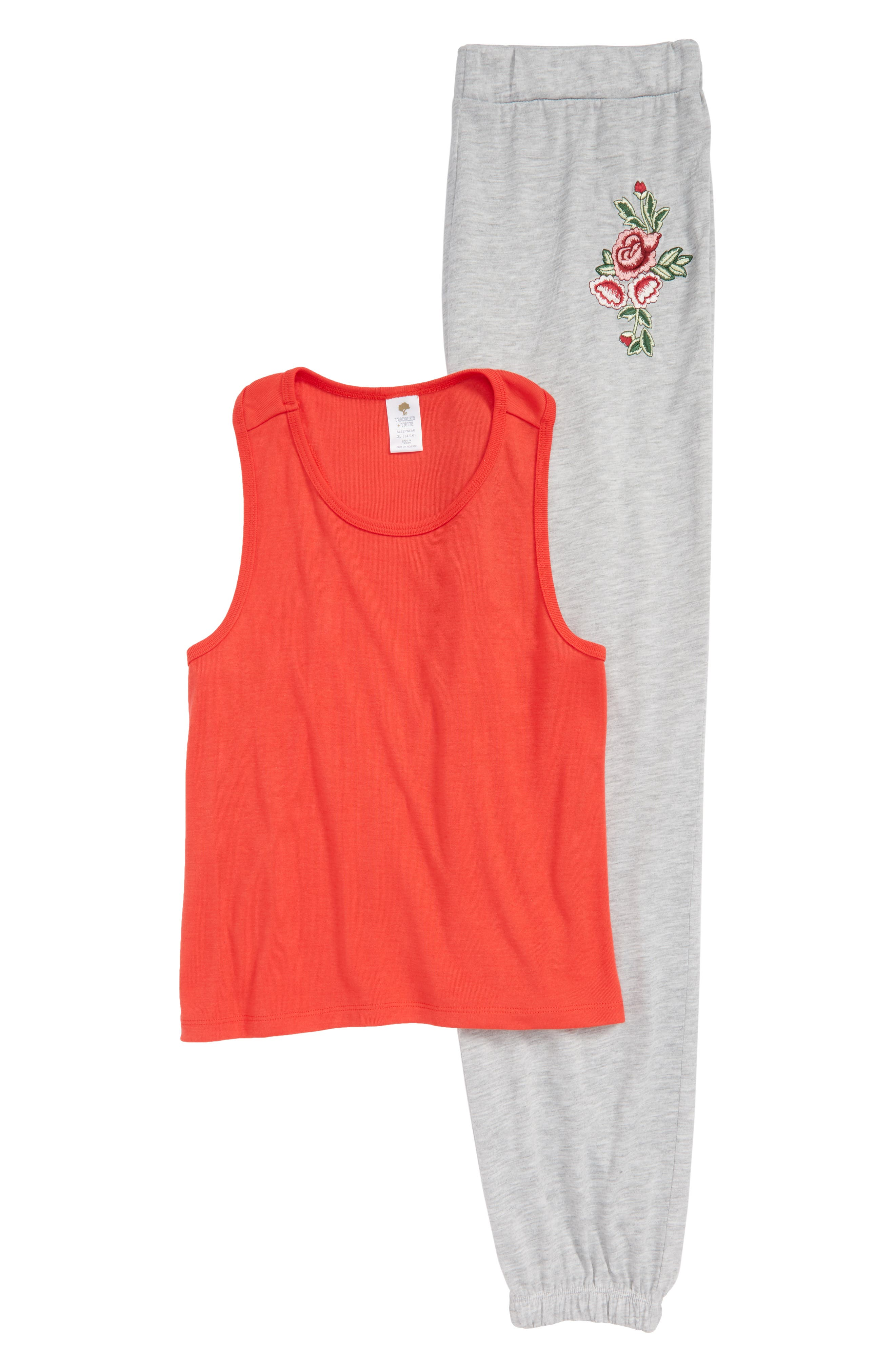 Two-Piece Pajamas Set,                         Main,                         color, Red Bittersweet- Grey