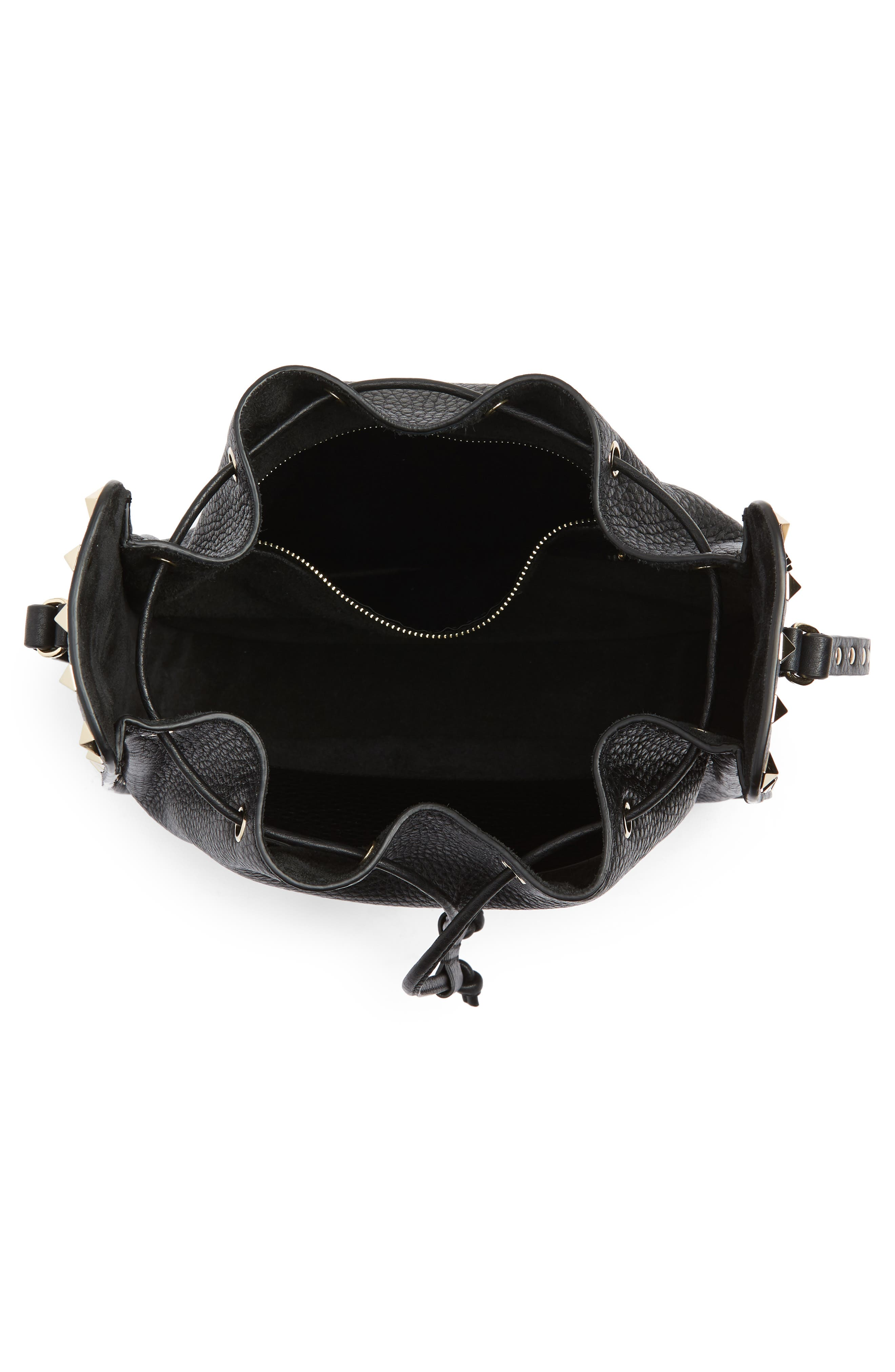 Large Rockstud Leather Bucket Bag,                             Alternate thumbnail 4, color,                             Black/ Gold