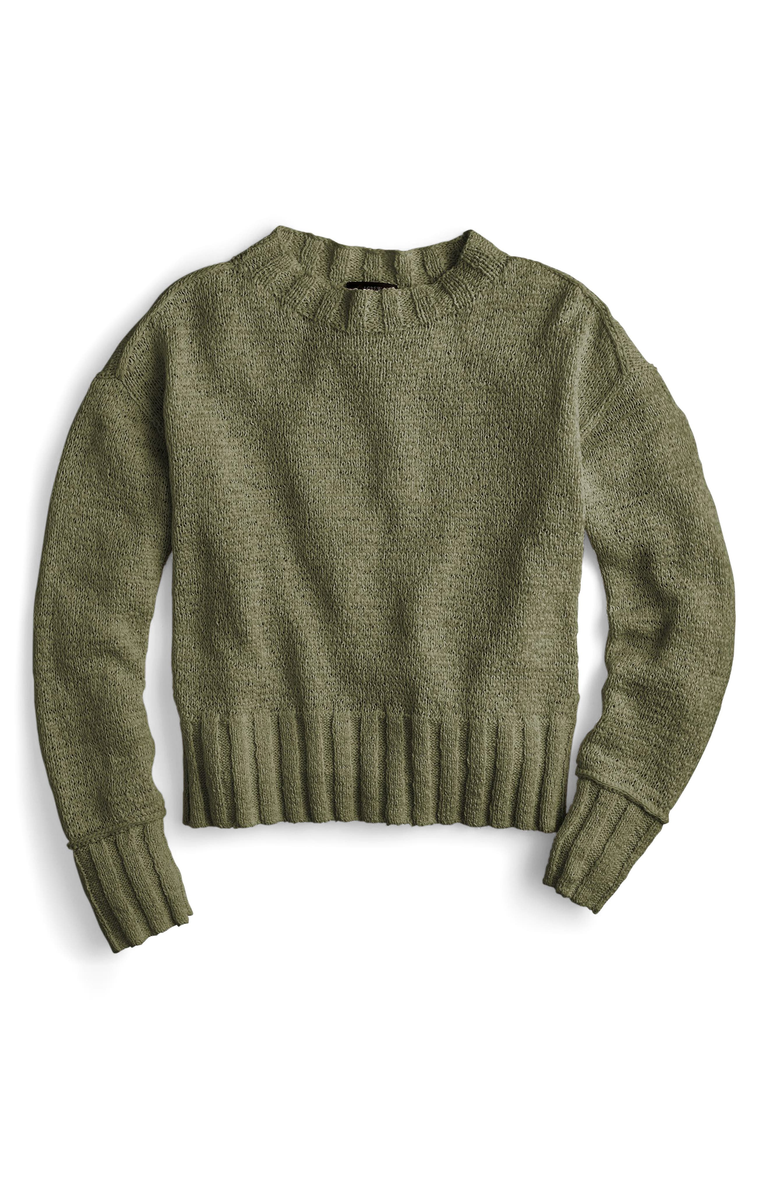 Erica Heathered Cotton Wide Rib Crewneck Sweater,                             Alternate thumbnail 3, color,                             Loden Green