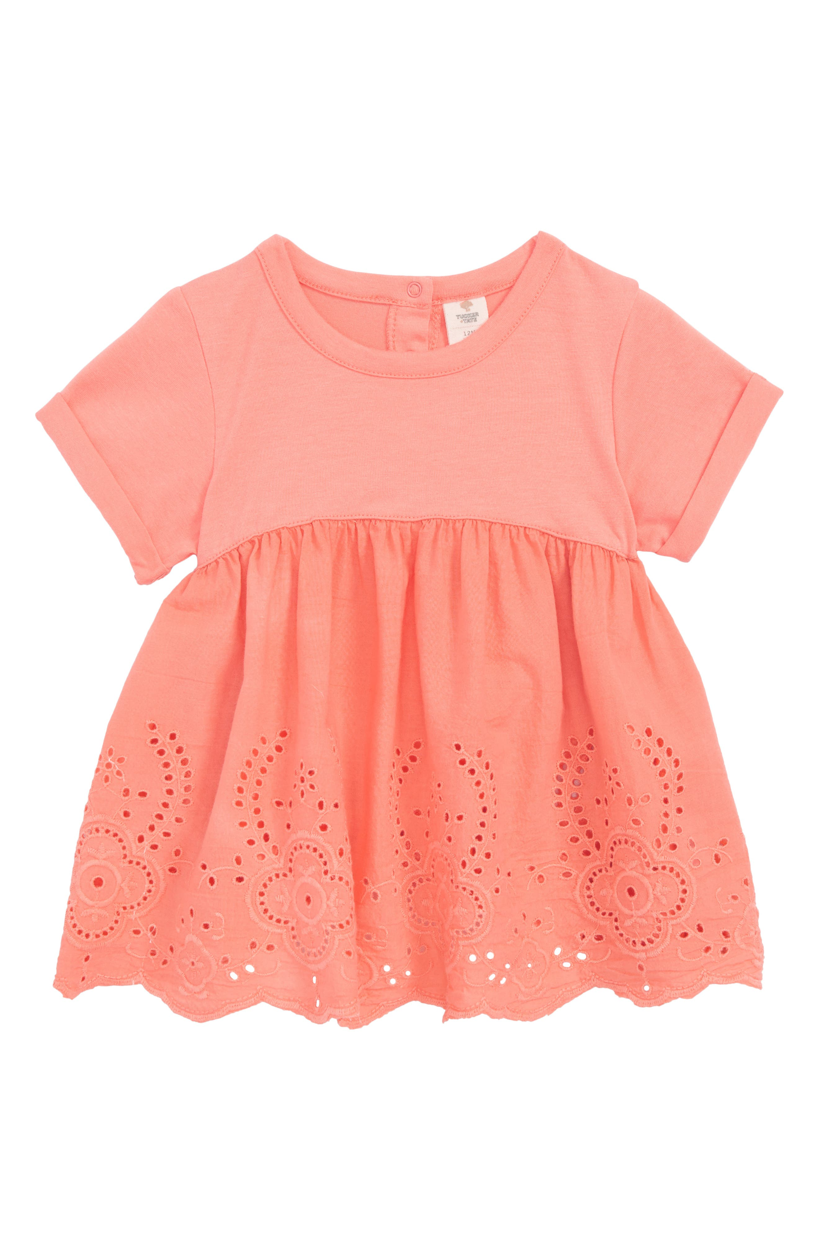 Eyelet Embroidered Top,                         Main,                         color, Coral Shell
