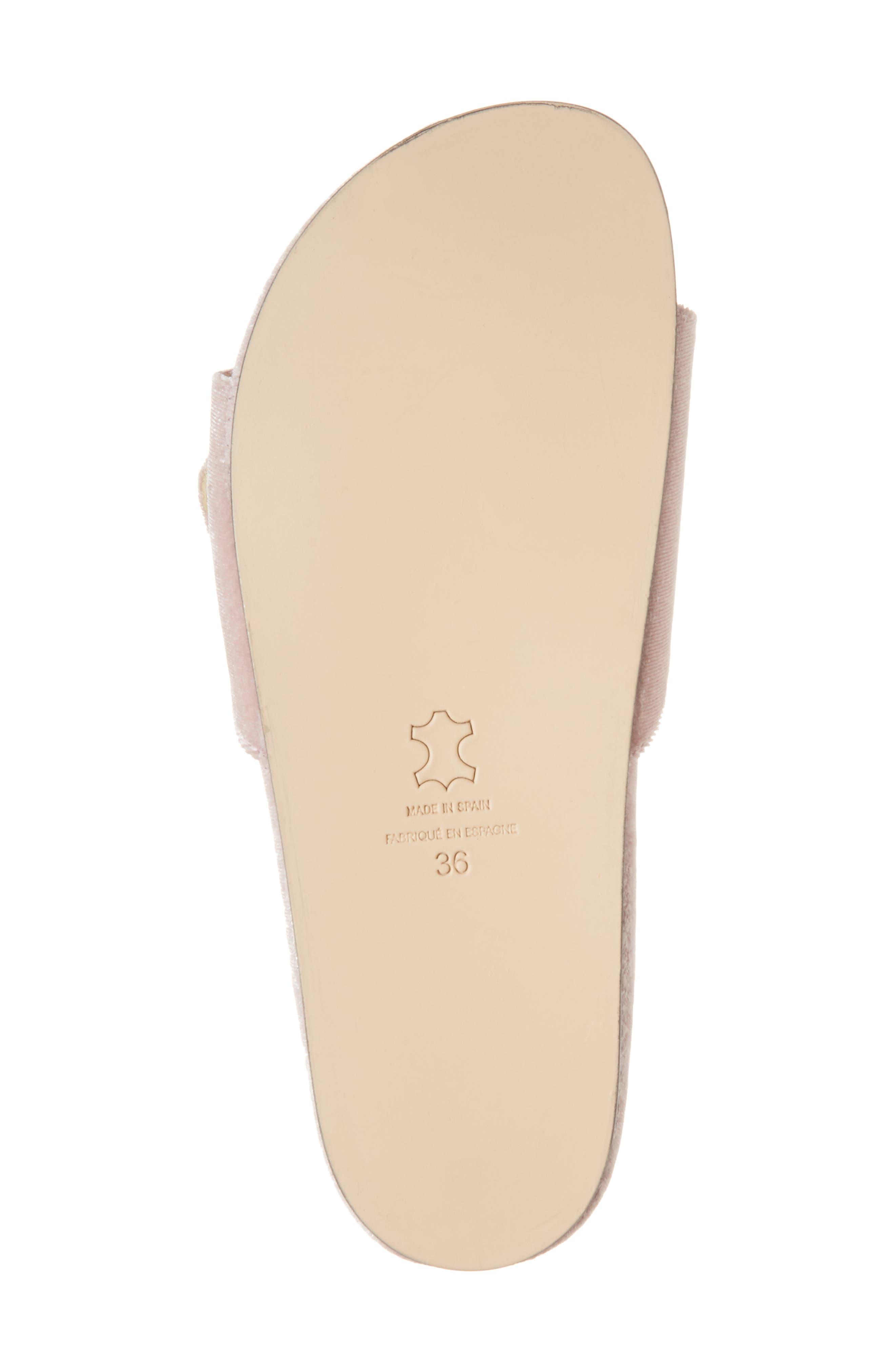 Upolu Embellished Slide Sandal,                             Alternate thumbnail 6, color,                             Blush Velvet/ Silver