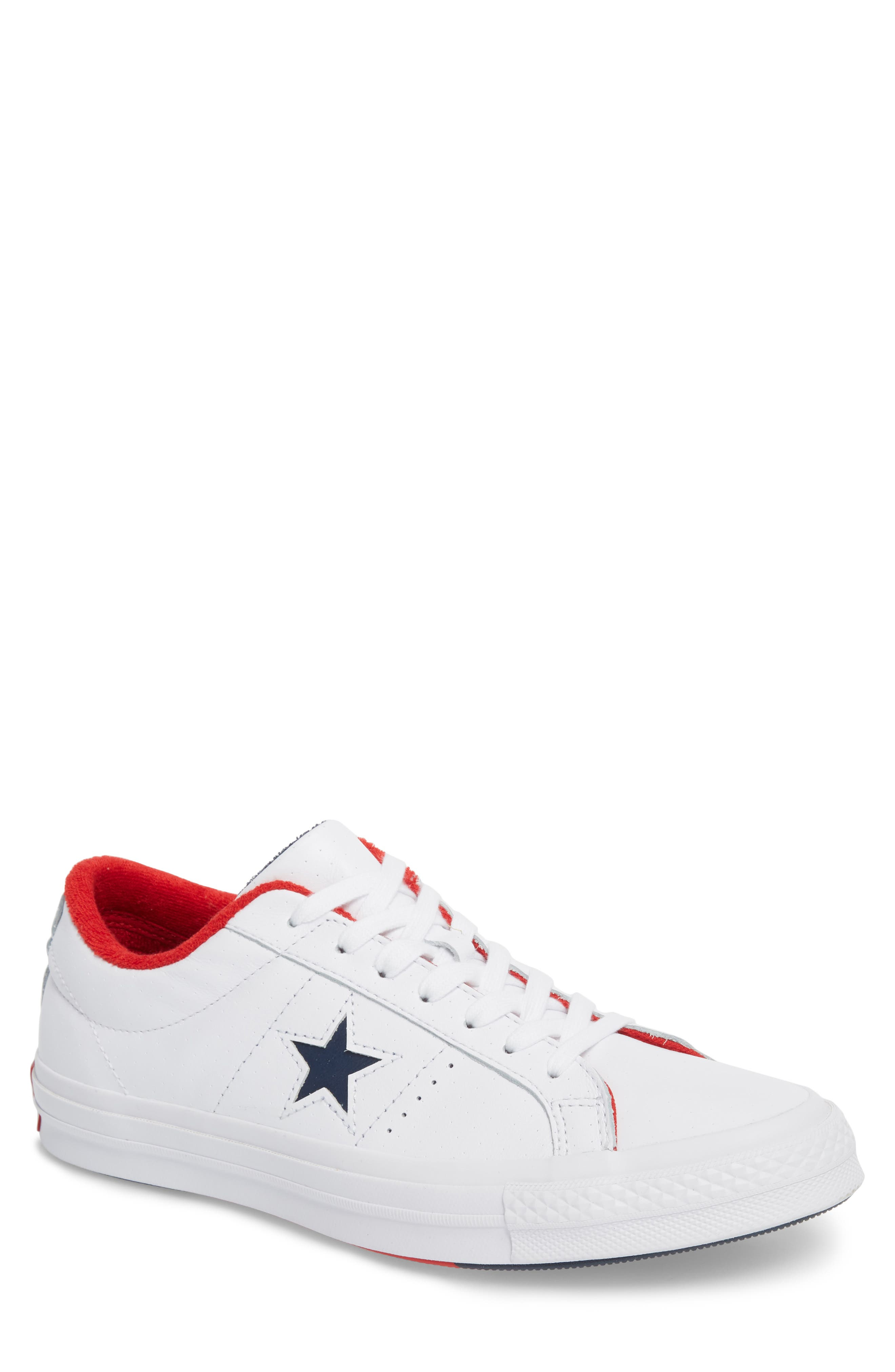 Chuck Taylor<sup>®</sup> One Star Grand Slam Sneaker,                             Main thumbnail 1, color,                             White/ Navy Leather