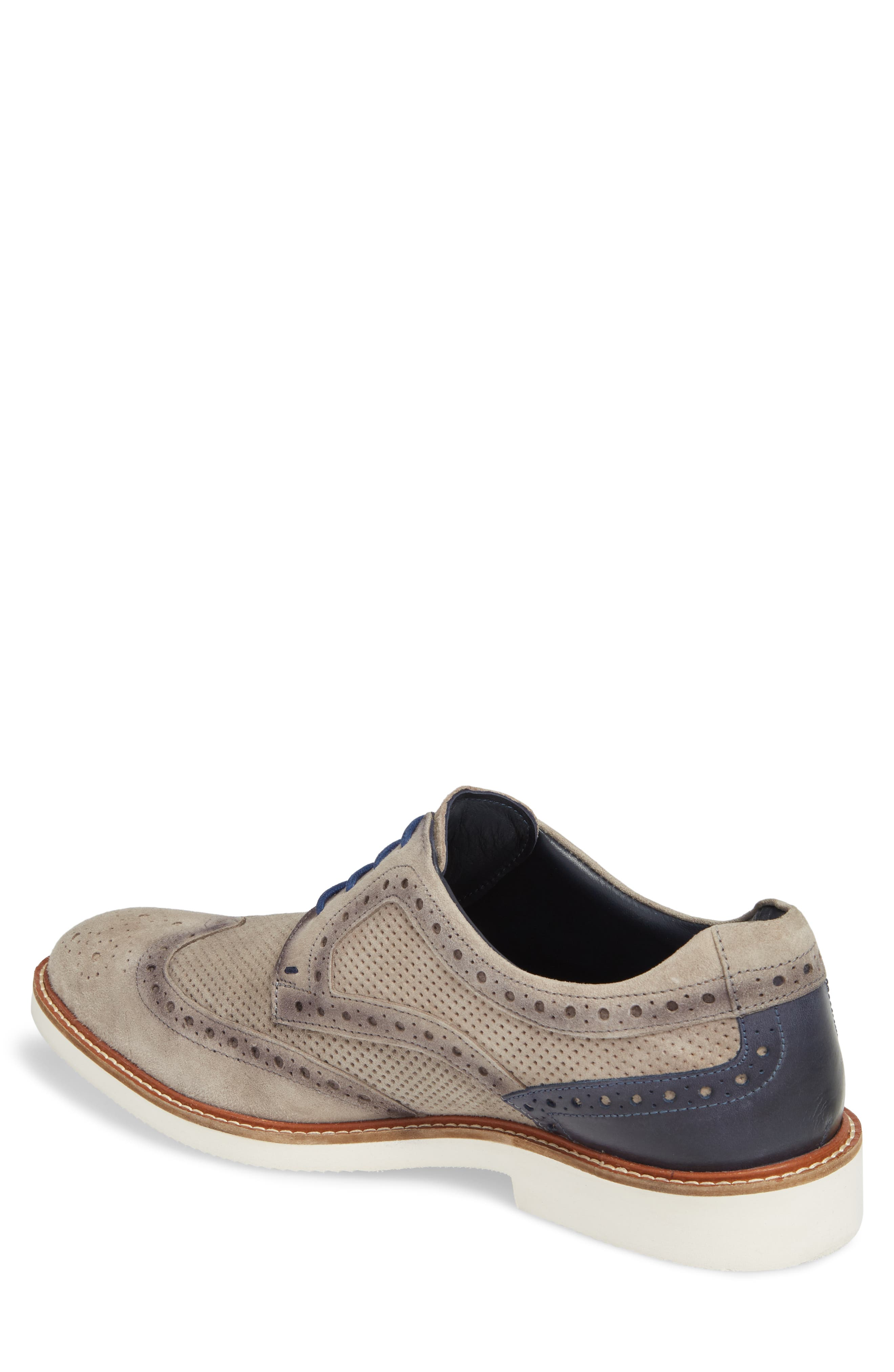 Shaw Perforated Wingtip Derby,                             Alternate thumbnail 2, color,                             Grey Suede
