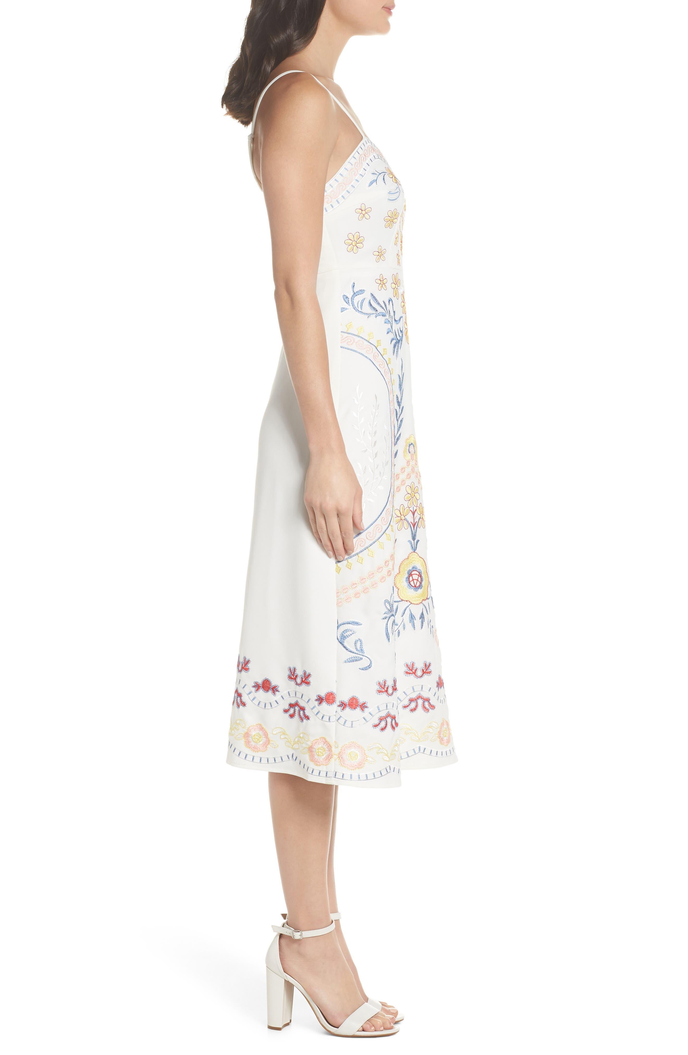 Artemisia Tea Length Dress,                             Alternate thumbnail 4, color,                             White Multi