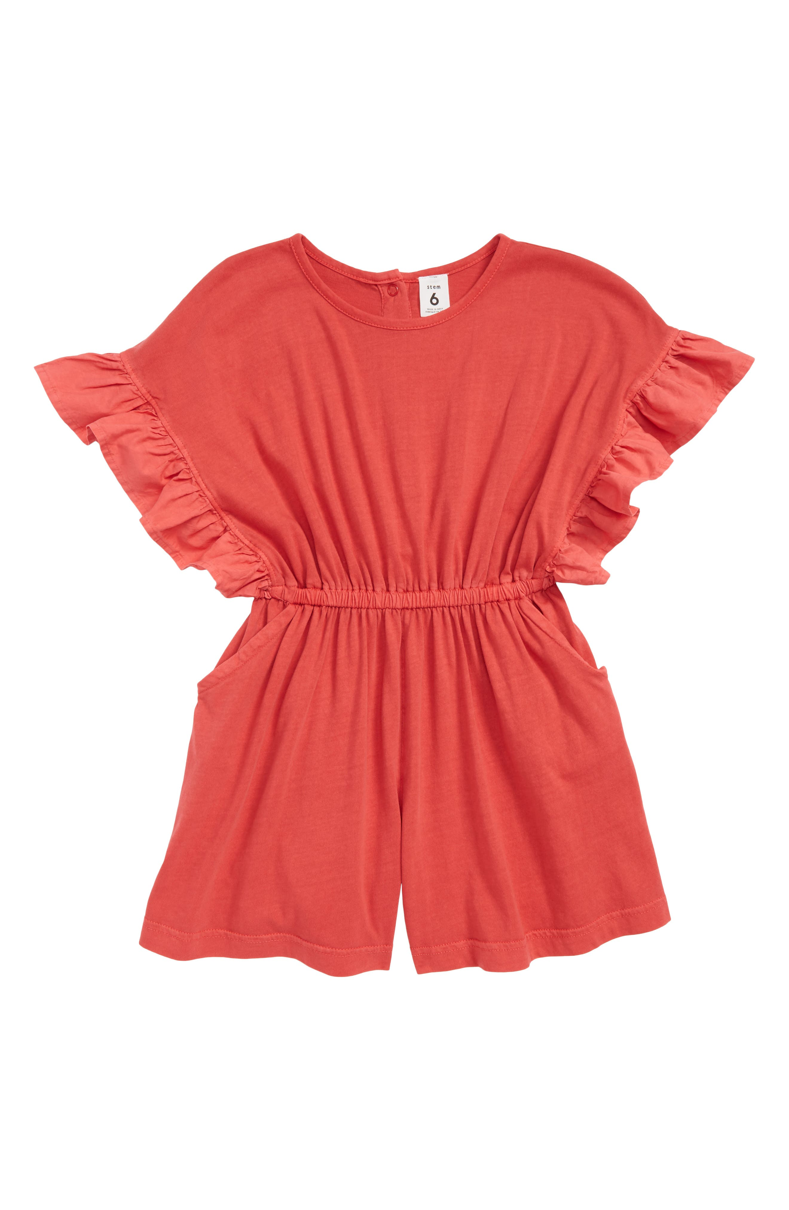Ruffle Sleeve Romper,                             Main thumbnail 1, color,                             Red Hibiscus
