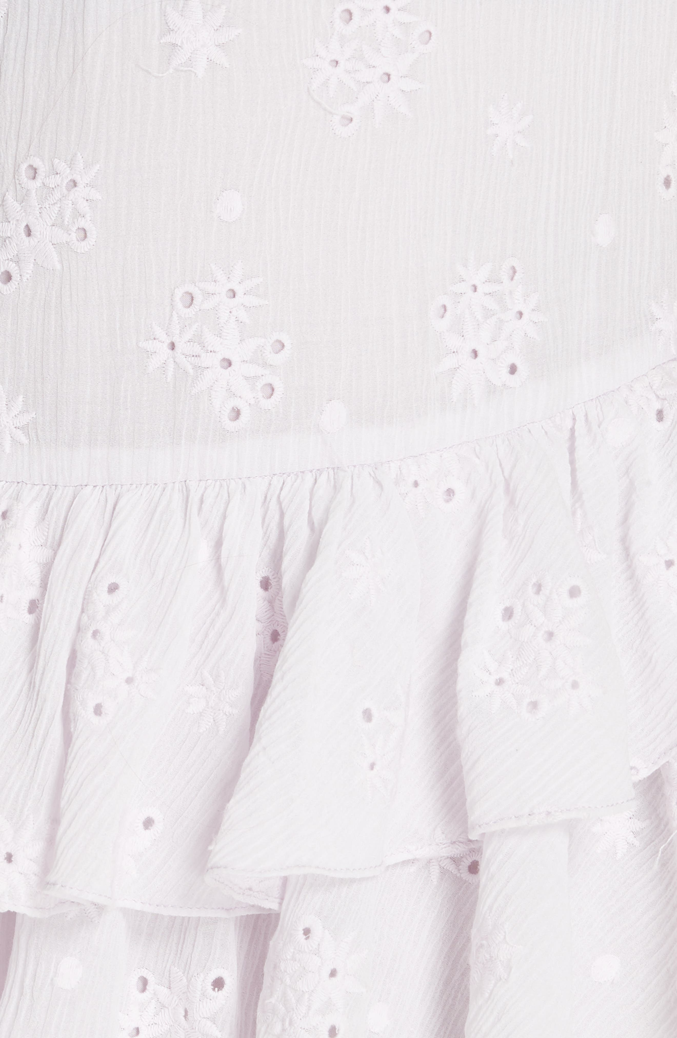 Dree Embroidered Ruffle Dress,                             Alternate thumbnail 3, color,                             Faded Lavender
