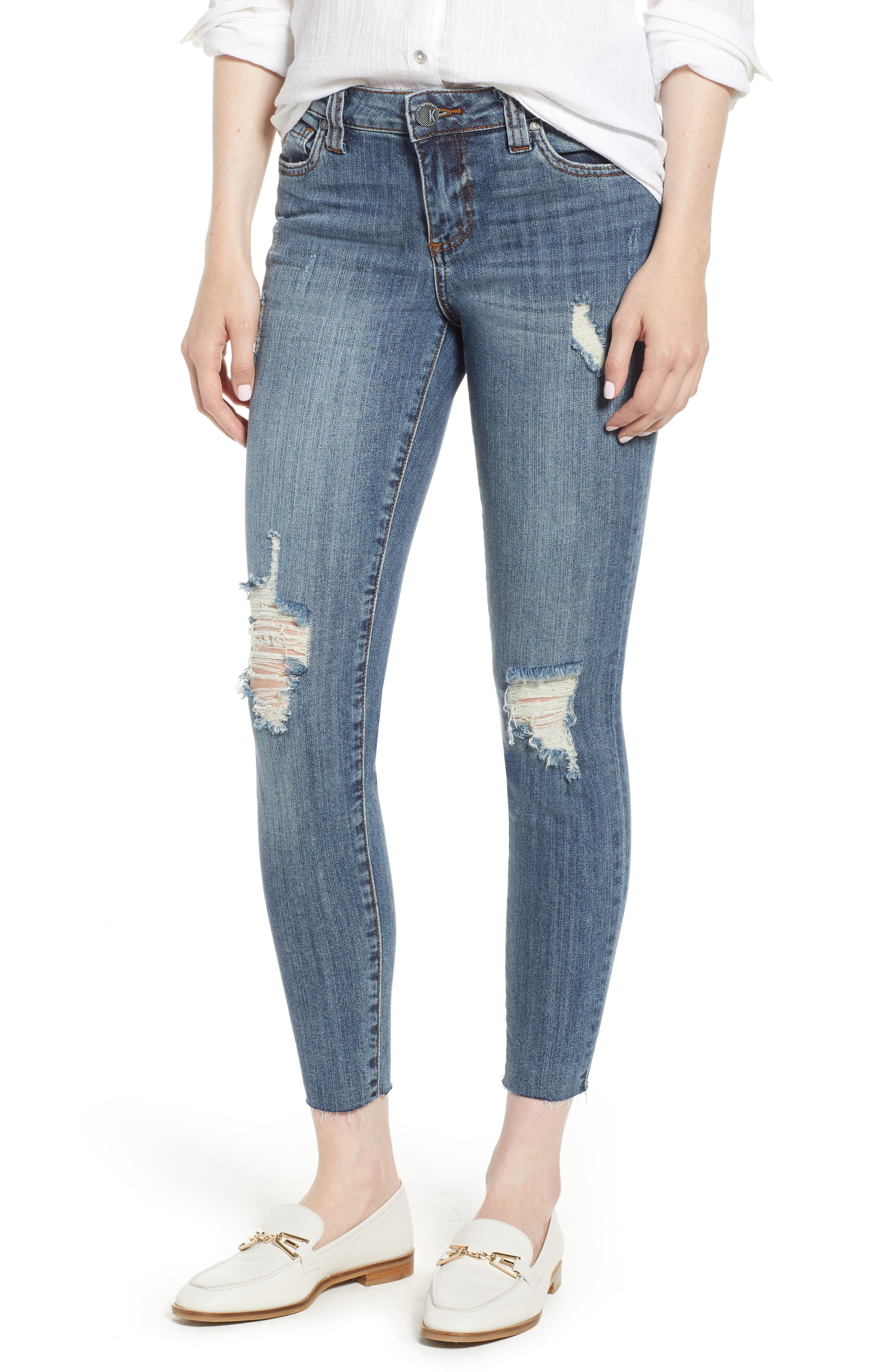 KUT from the Kloth Connie Raw Hem Ankle Jeans,                         Main,                         color, Refinement