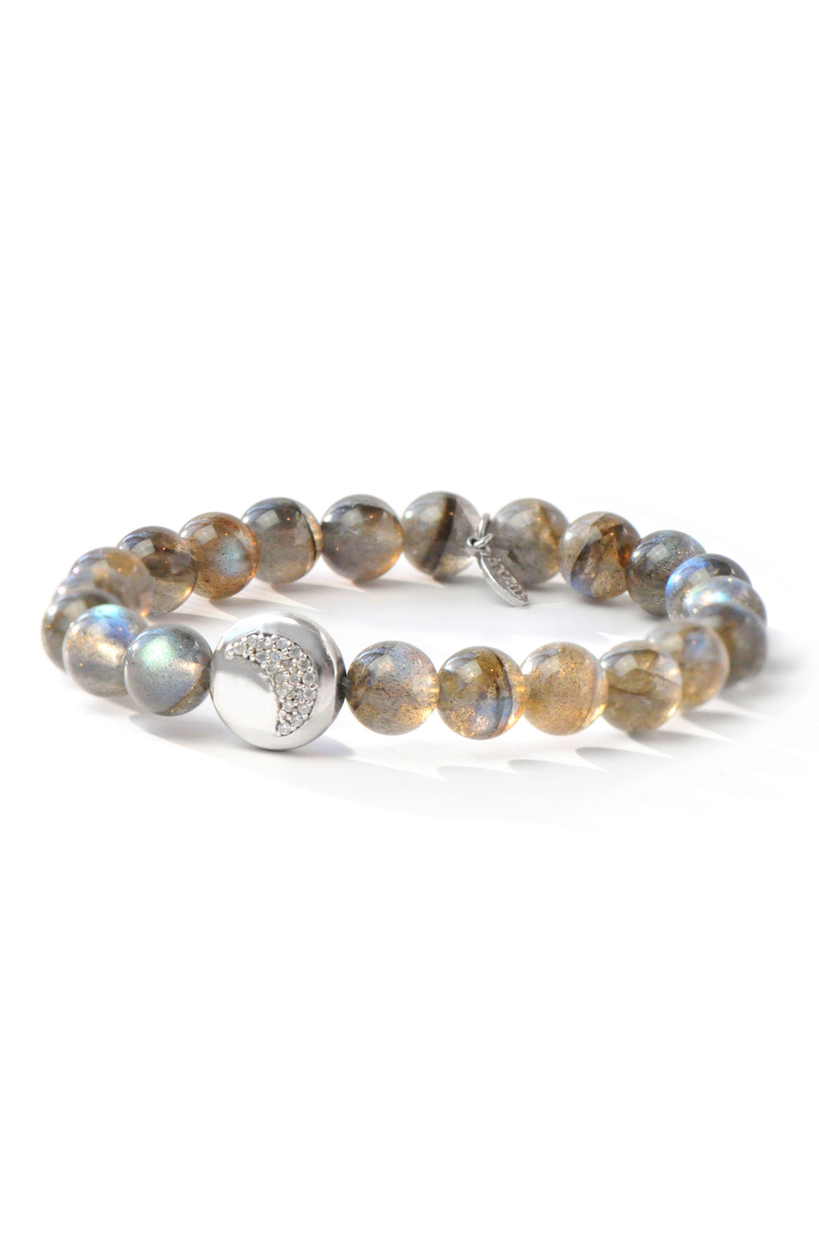 Boheme Blue Labradorite Smooth Bead Bracelet,                             Main thumbnail 1, color,                             Silver