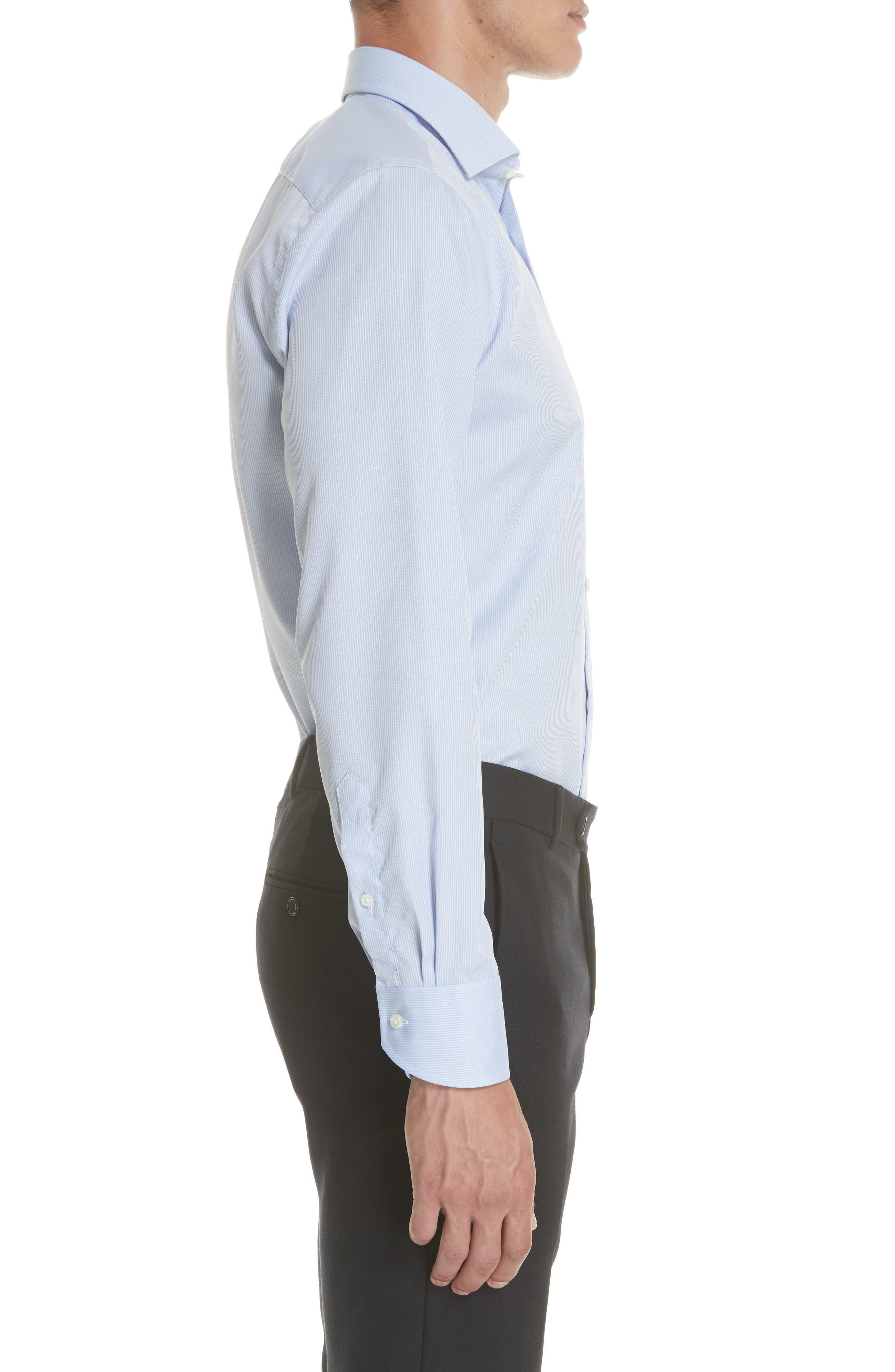 Regular Fit Print Dress Shirt,                             Alternate thumbnail 4, color,                             Blue