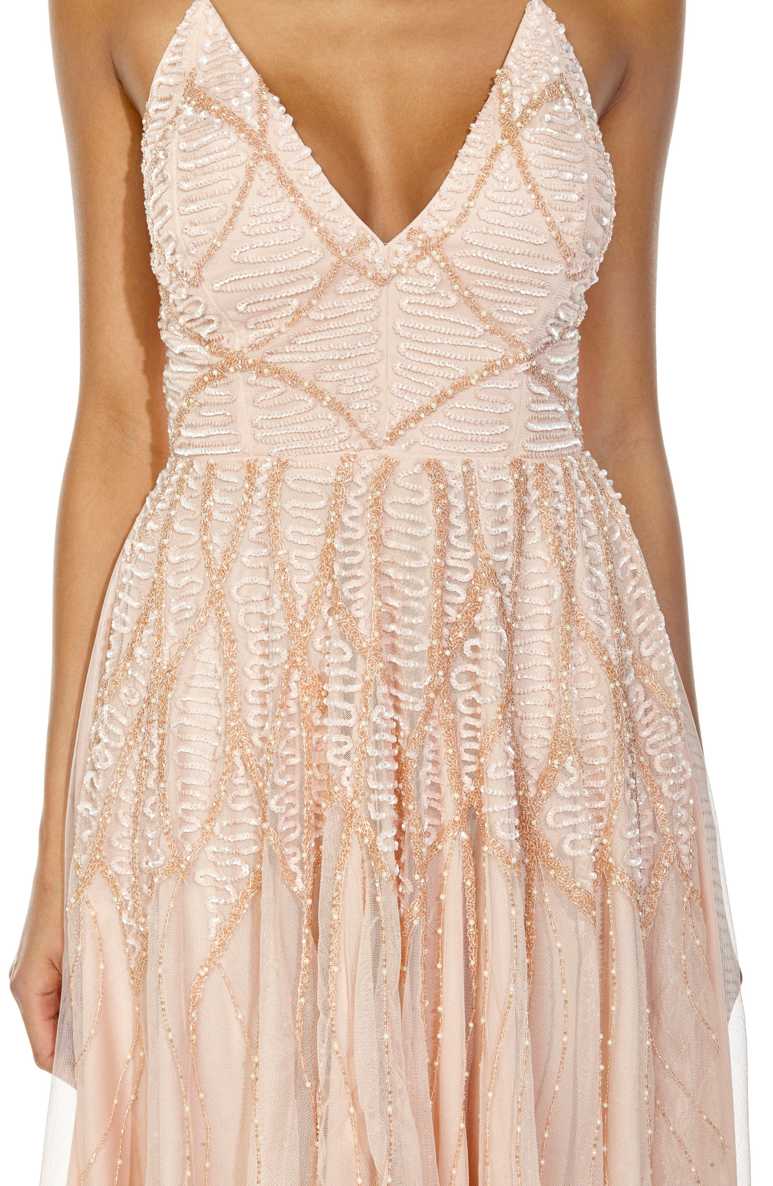 Plunging Sequin Fit & Flare Dress,                             Alternate thumbnail 3, color,                             Nude