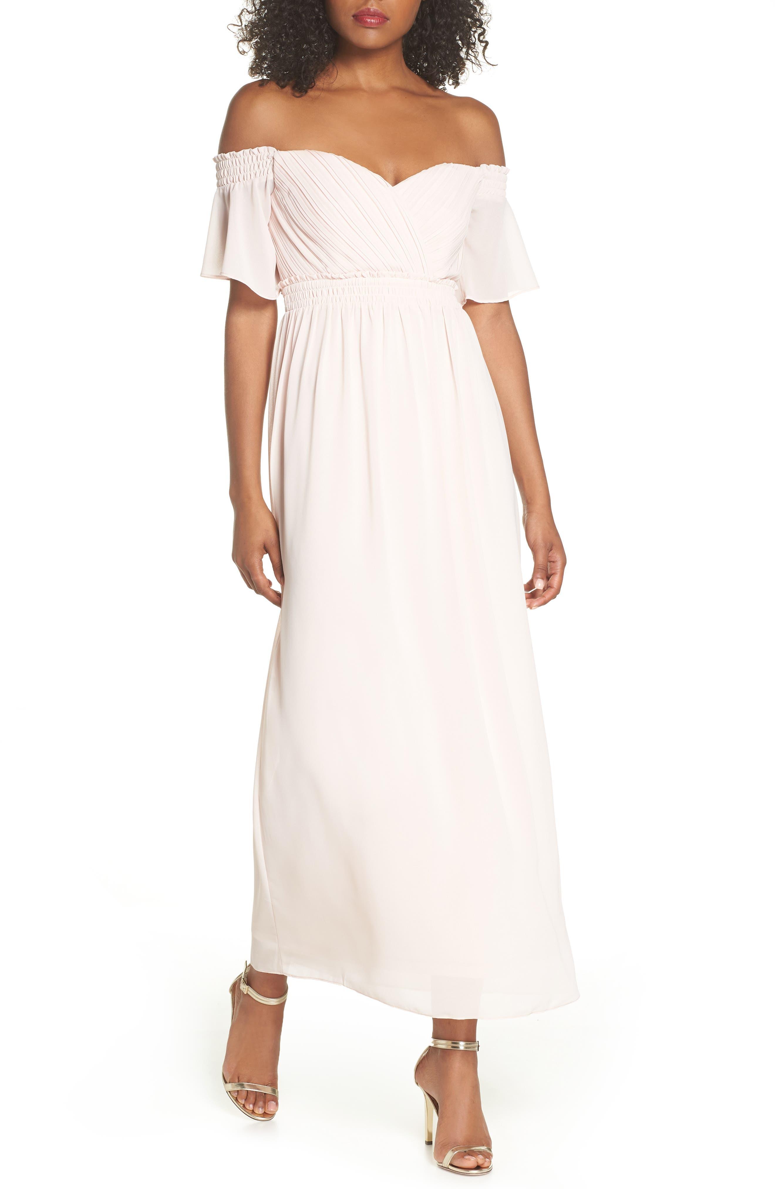 Freida Off the Shoulder Maxi Dress,                         Main,                         color, Peach Blush